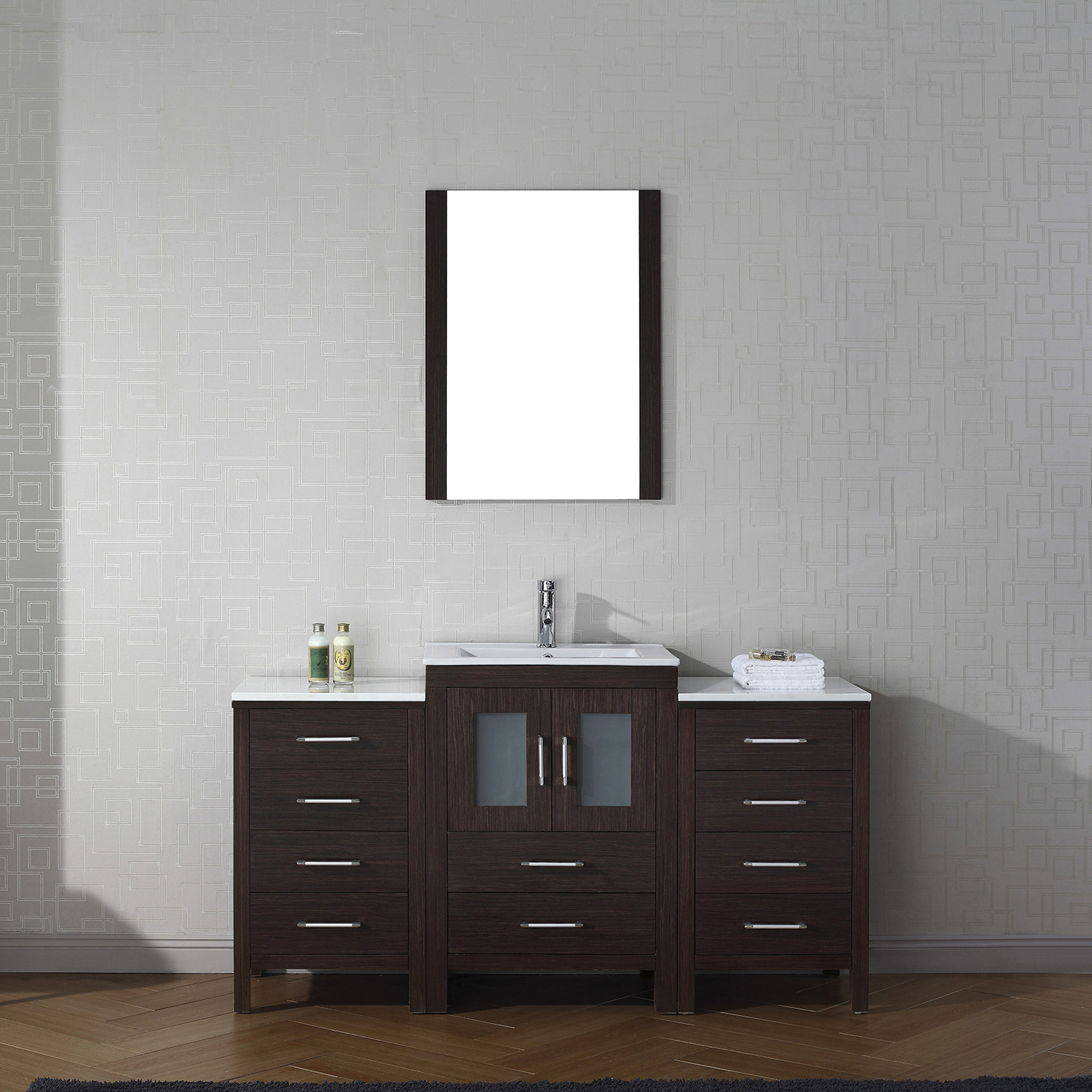 "60"" Single Bath Vanity in Espresso with Slim White Ceramic Top and Square Sink with Polished Chrome Faucet and Mirror"