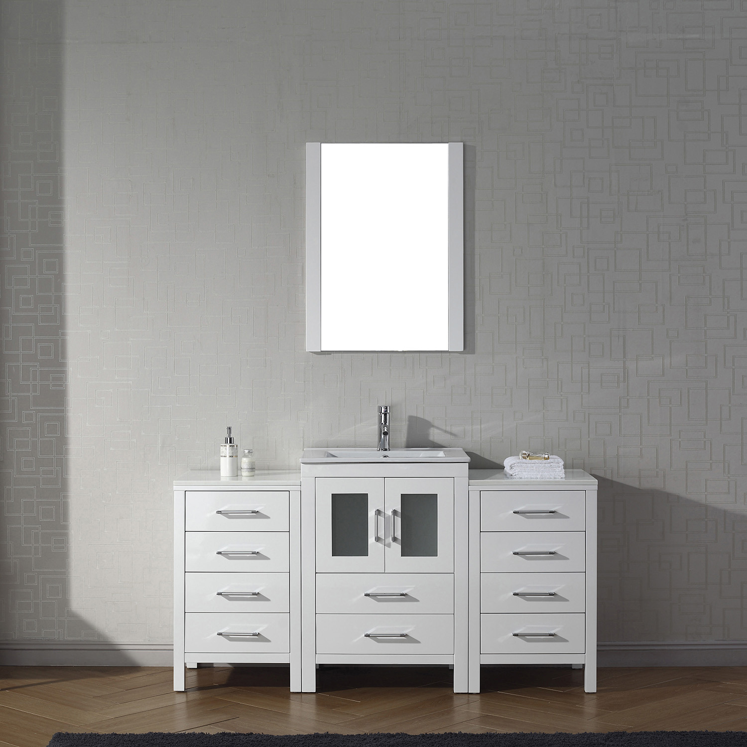"60"" Single Bath Vanity in White with Slim White Ceramic Top and Square Sink with Polished Chrome Faucet and Mirror"