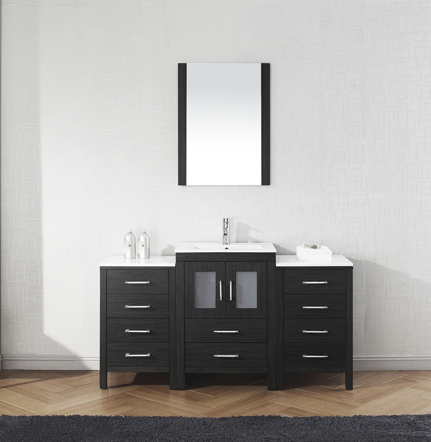 "60"" Single Bath Vanity in Zebra Grey with Slim White Ceramic Top and Square Sink with Polished Chrome Faucet and Mirror"