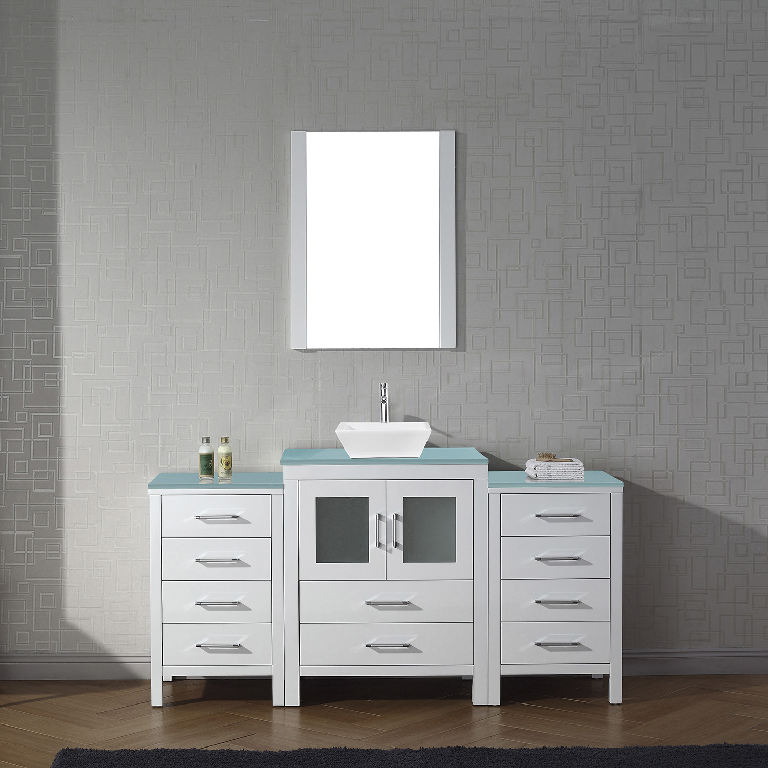 "64"" Single Bath Vanity in White with Aqua Tempered Glass Top and Square Sink with Polished Chrome Faucet and Mirror"