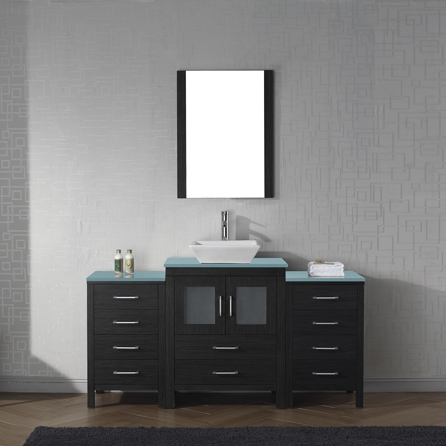 "64"" Single Bath Vanity in Zebra Grey with Aqua Tempered Glass Top and Square Sink with Polished Chrome Faucet and Mirror"