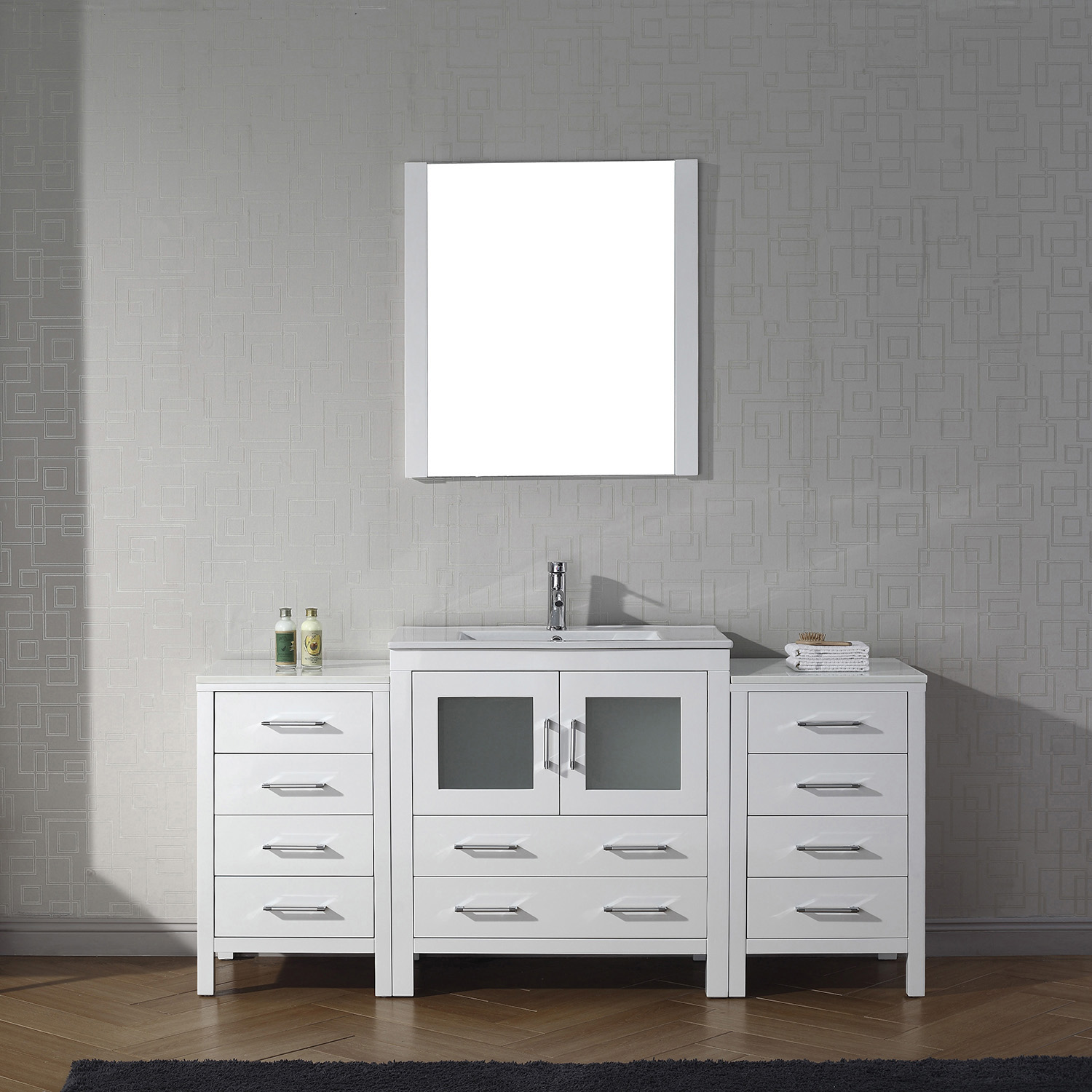 "66"" Single Bath Vanity in White with Slim White Ceramic Top and Square Sink with Polished Chrome Faucet and Mirror"