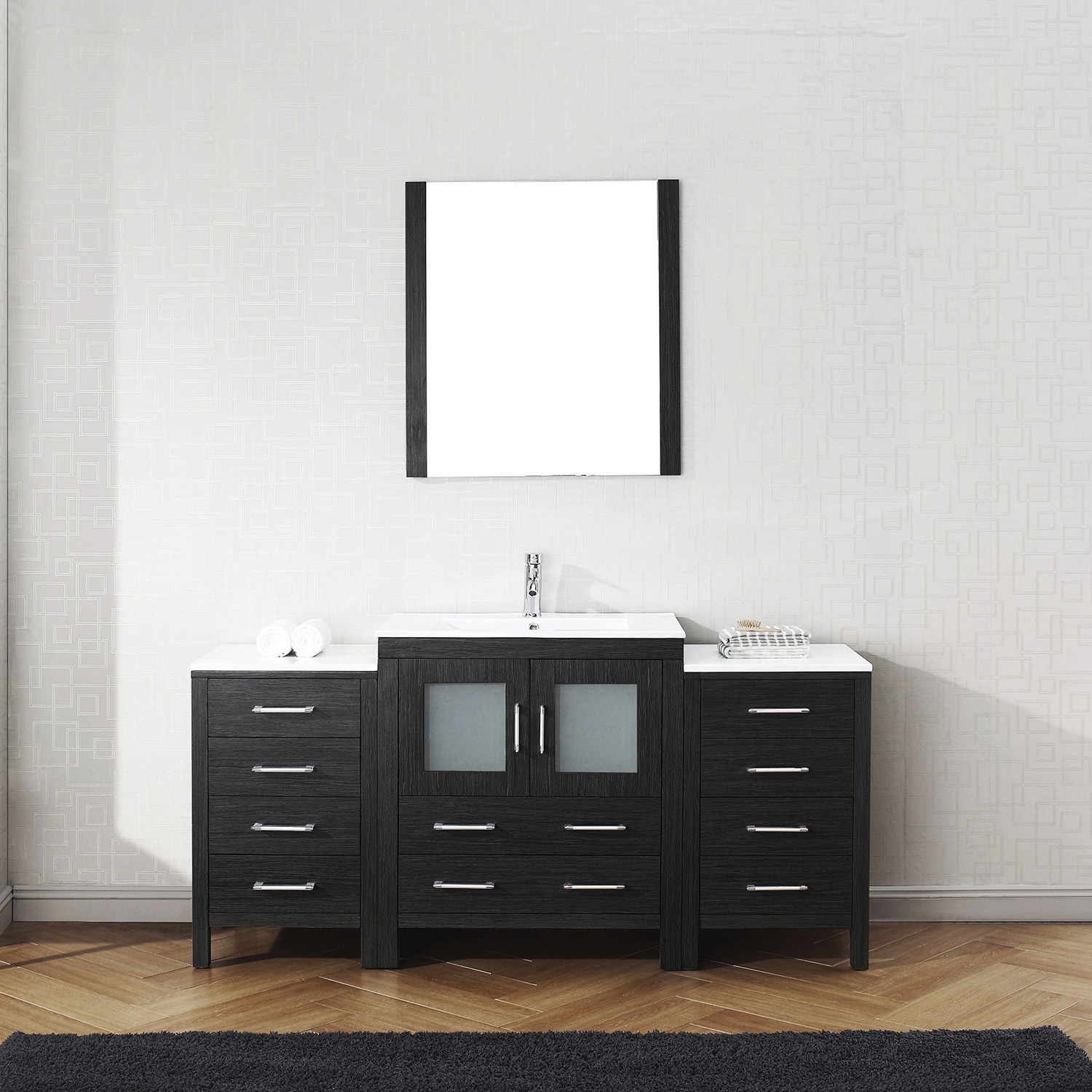 "66"" Single Bath Vanity in Zebra Grey with Slim White Ceramic Top and Square Sink with Polished Chrome Faucet and Mirror"