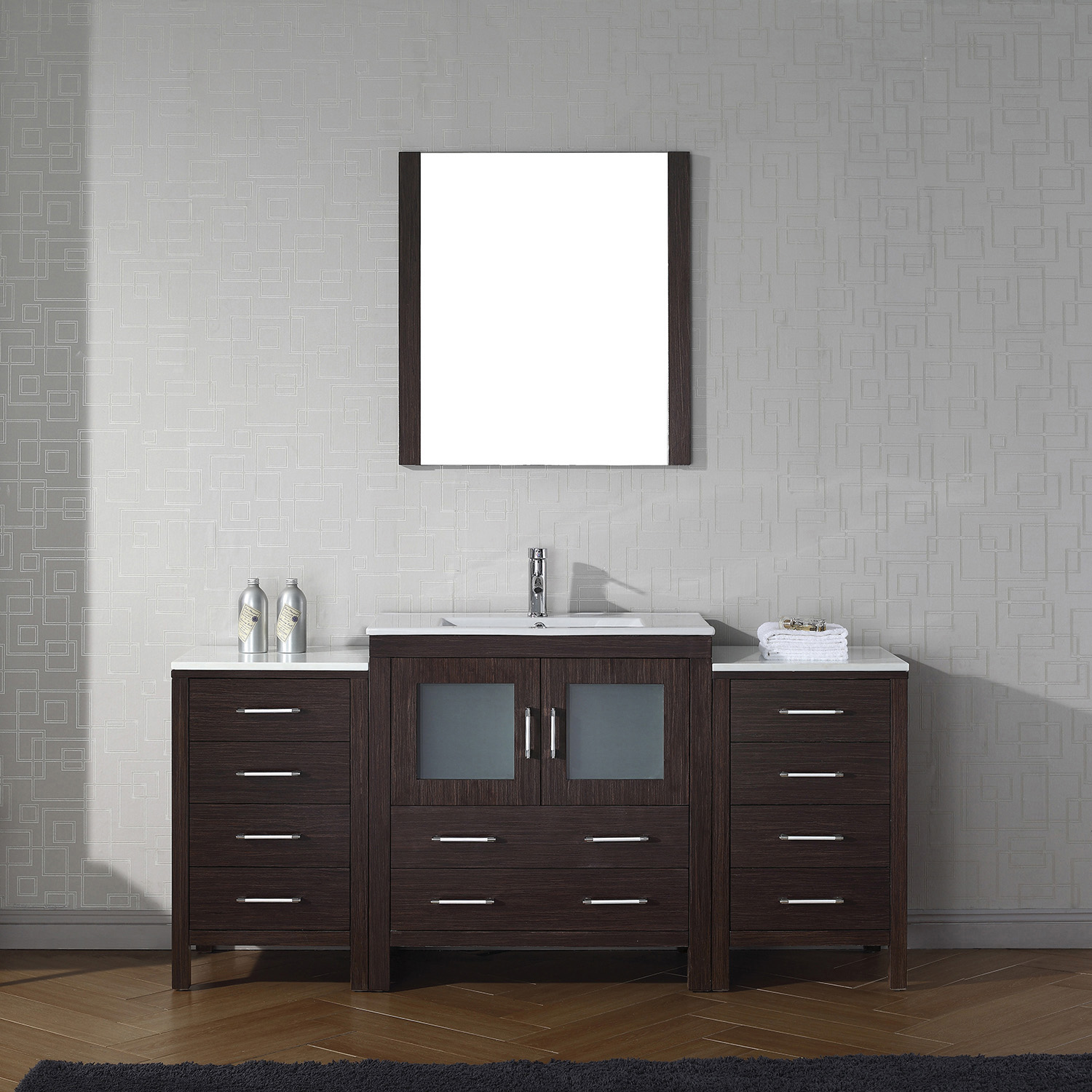 "68"" Single Bath Vanity in Espresso with Slim White Ceramic Top and Square Sink with Polished Chrome Faucet and Mirror"