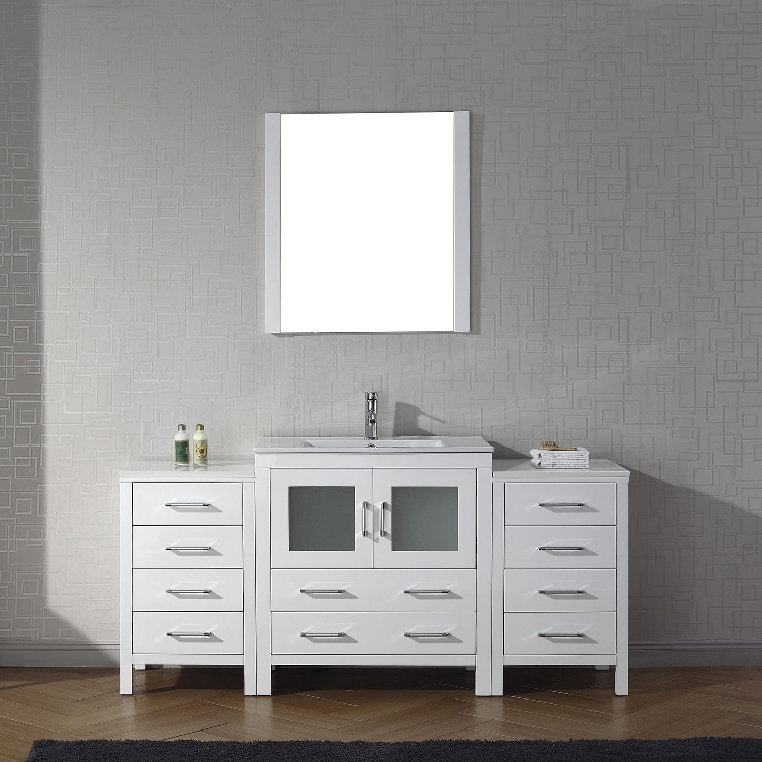 "68"" Single Bath Vanity in White with Slim White Ceramic Top and Square Sink with Polished Chrome Faucet and Mirror"