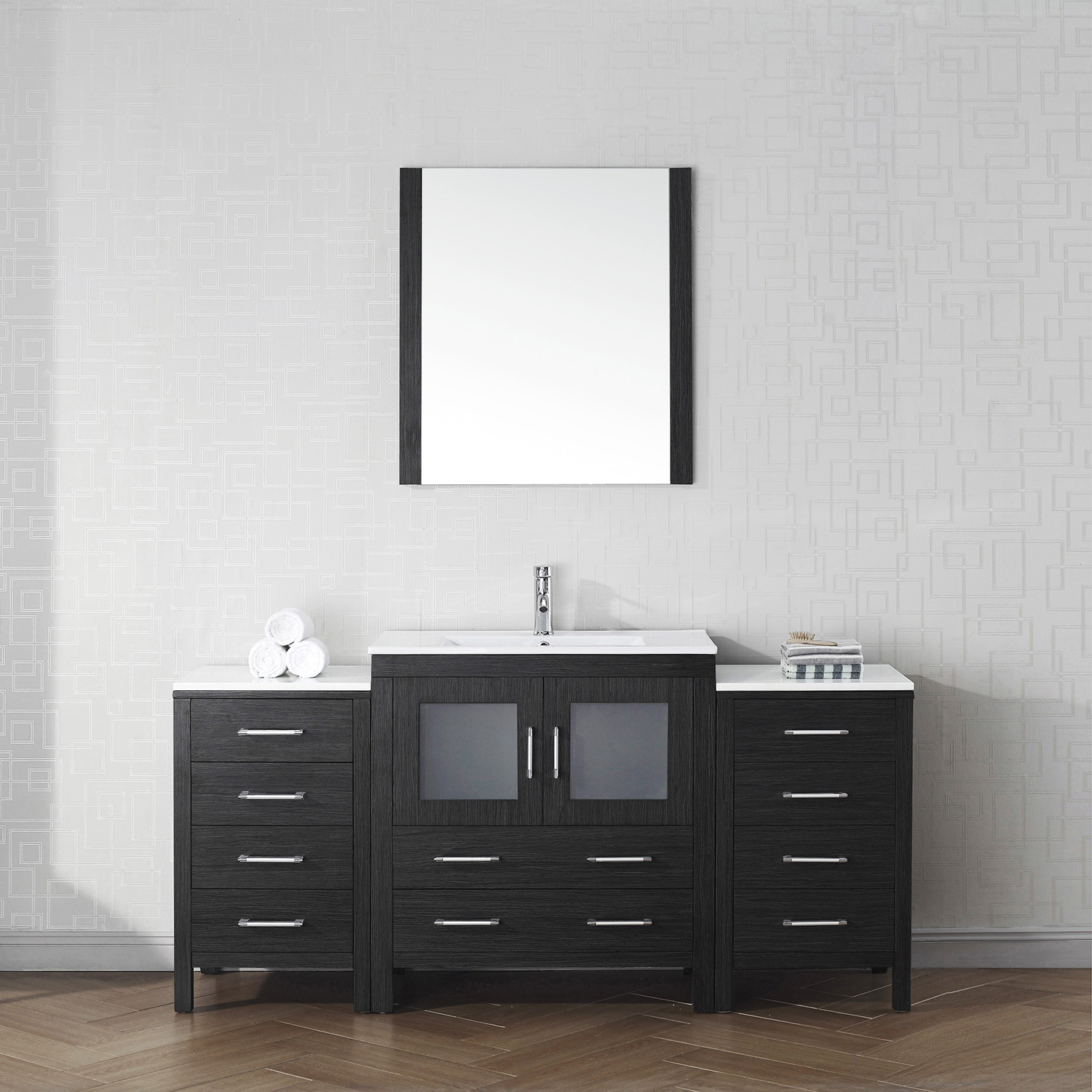 "68"" Single Bath Vanity in Zebra Gray with Slim White Ceramic Top and Square Sink with Polished Chrome Faucet and Mirror"
