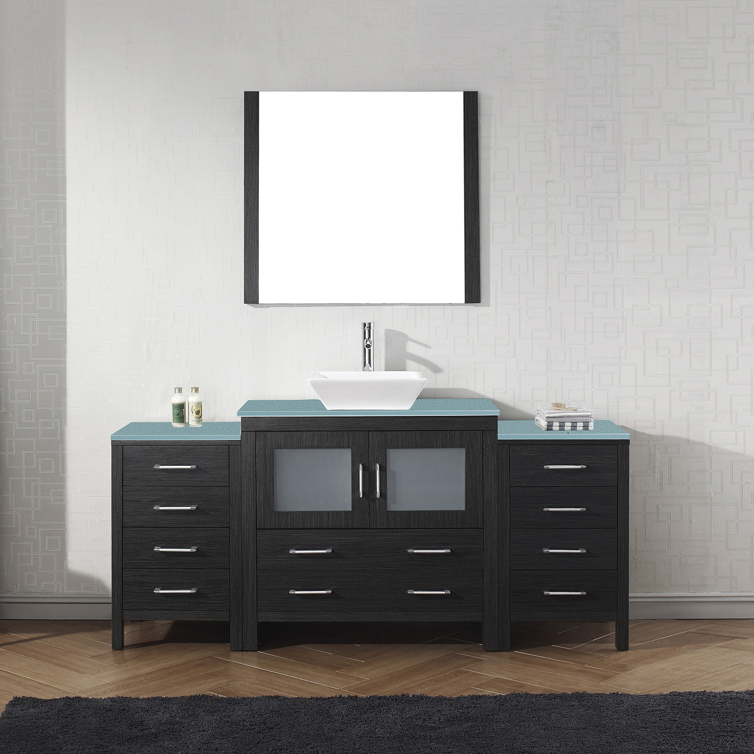 "72"" Single Bath Vanity in Zebra Grey with Aqua Tempered Glass Top and Square Sink with Polished Chrome Faucet and Mirror"