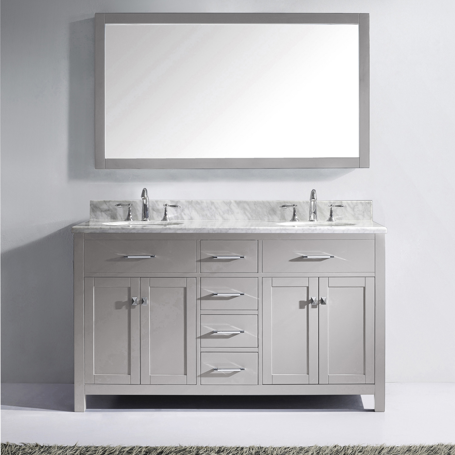 "60"" Cabinet Only in Cashmere Grey with Countertop, Faucet and Mirror Options"
