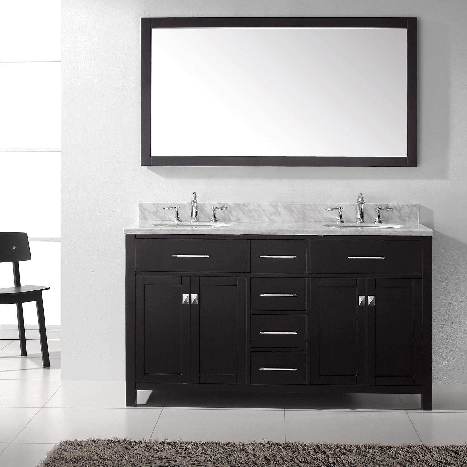 "60"" Cabinet Only in Espresso with Countertop, Faucet and Mirror Options"