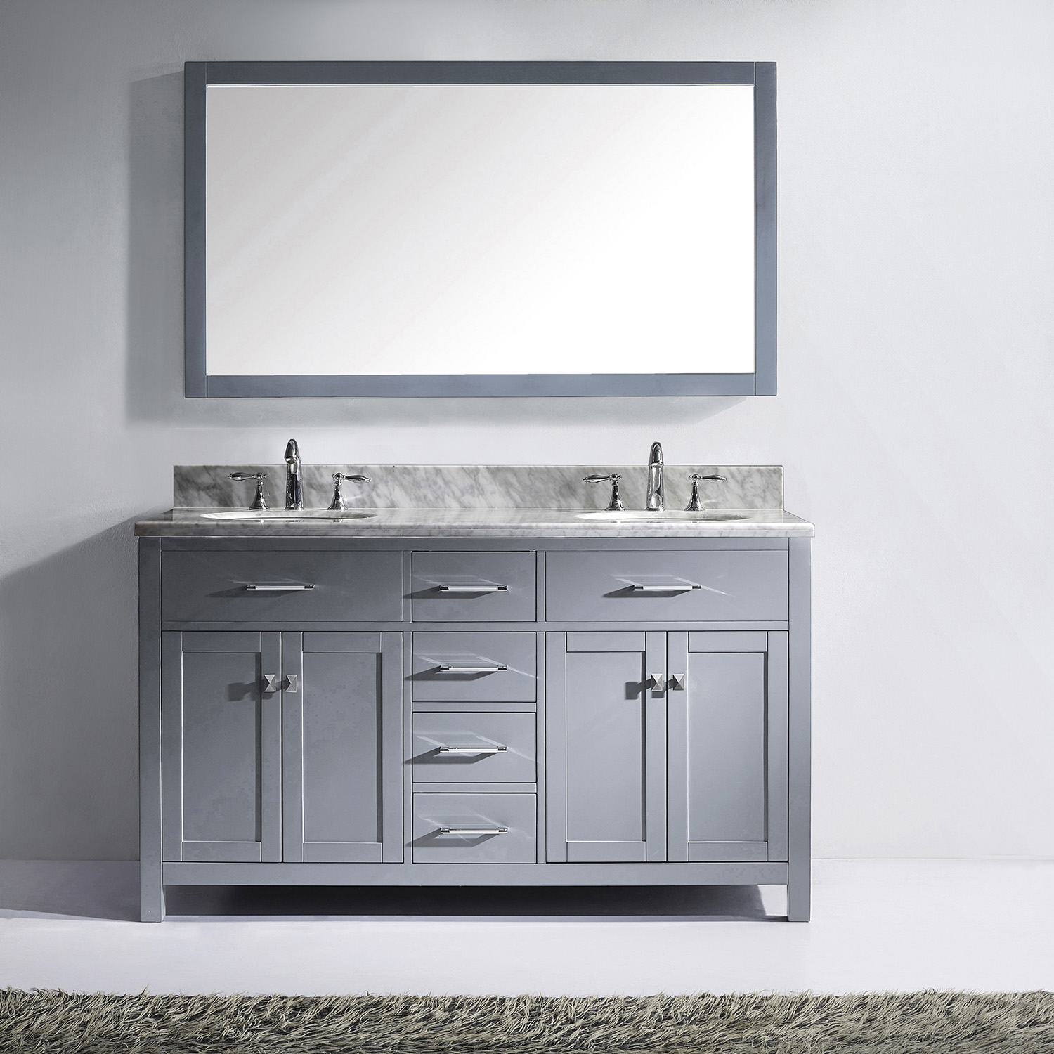 "60"" Cabinet Only in Grey with Countertop, Faucet and Mirror Options"