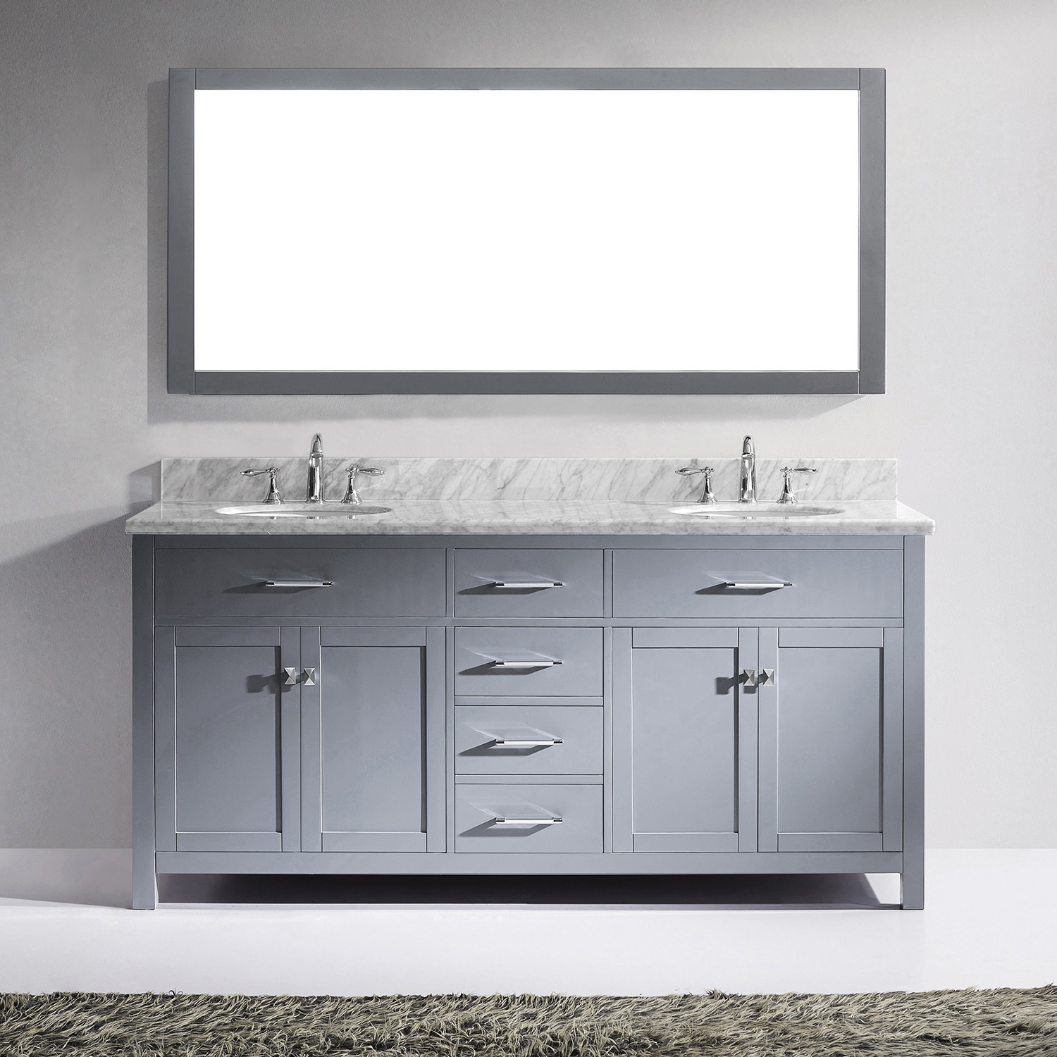 "72"" Cabinet Only in Grey with Countertop, Faucet and Mirror Options"