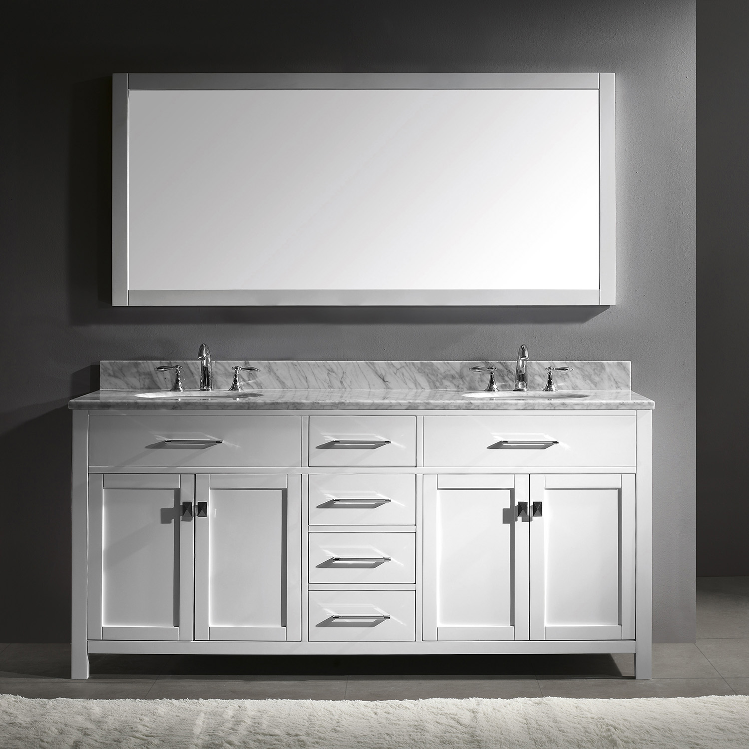 "72"" Cabinet Only in White with Countertop, Faucet and Mirror Options"