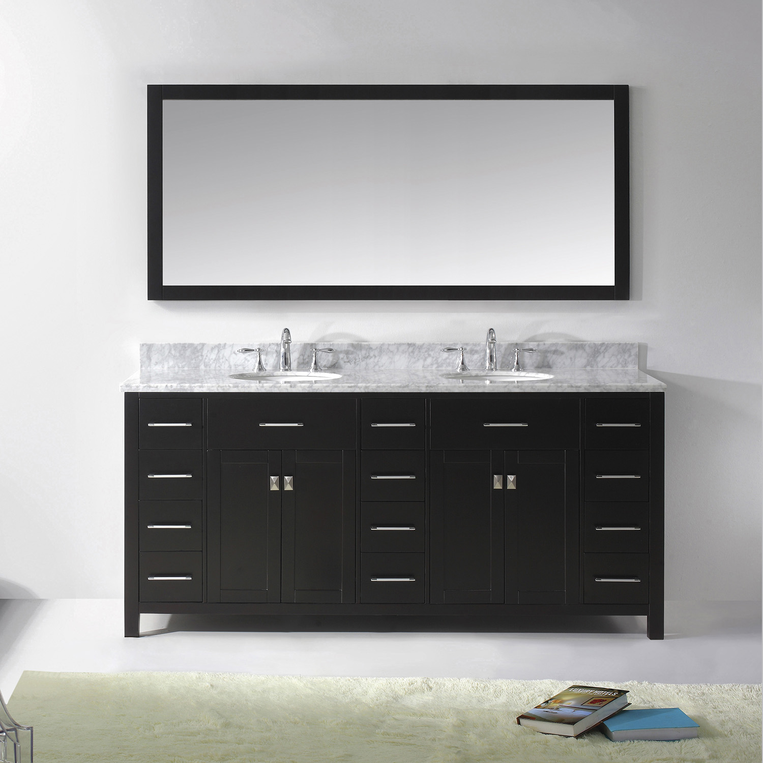 "72"" Cabinet Only in Espresso with Countertop, Mirror and Faucet Options"