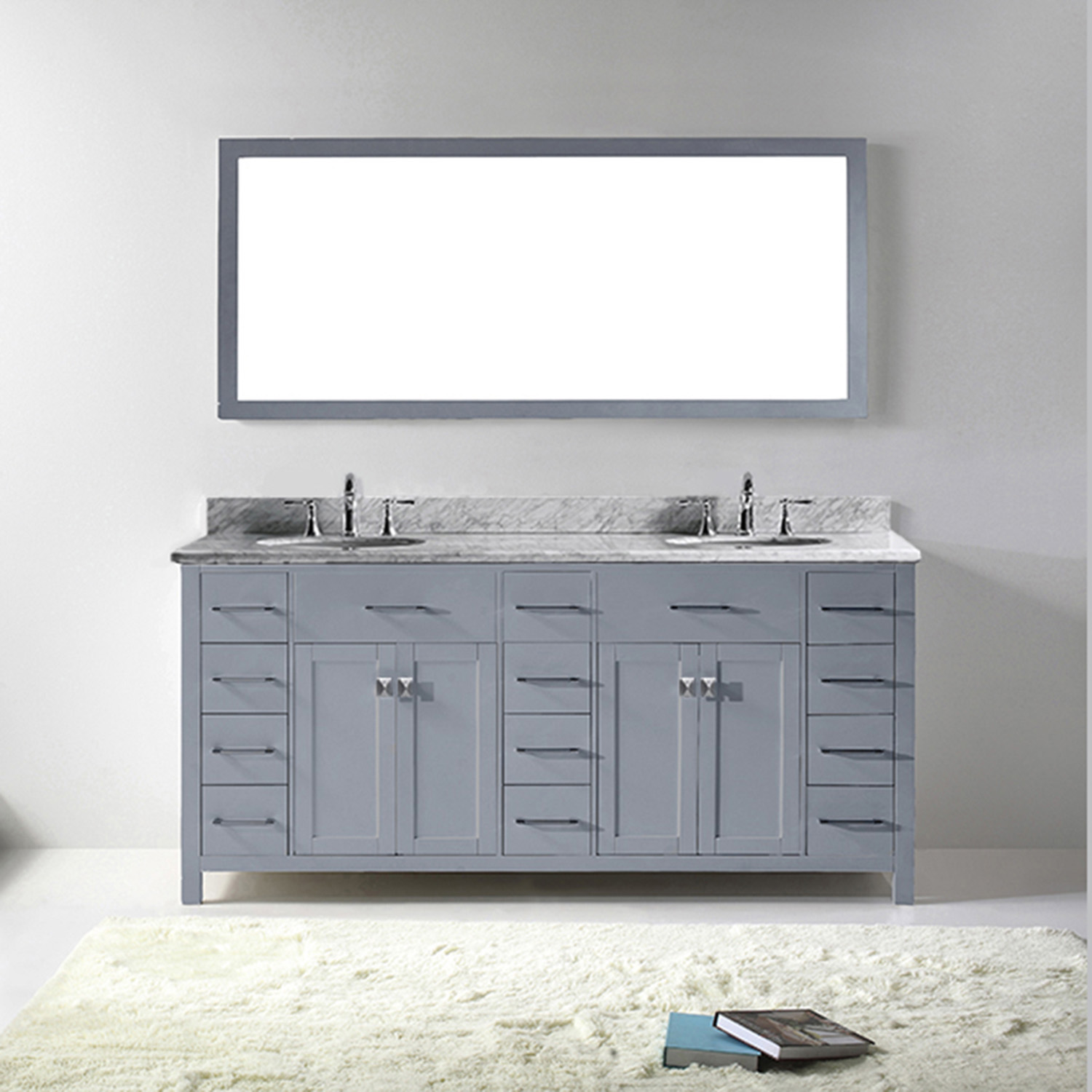 "72"" Cabinet Only in Grey with Countertop, Mirror and Faucet Options"