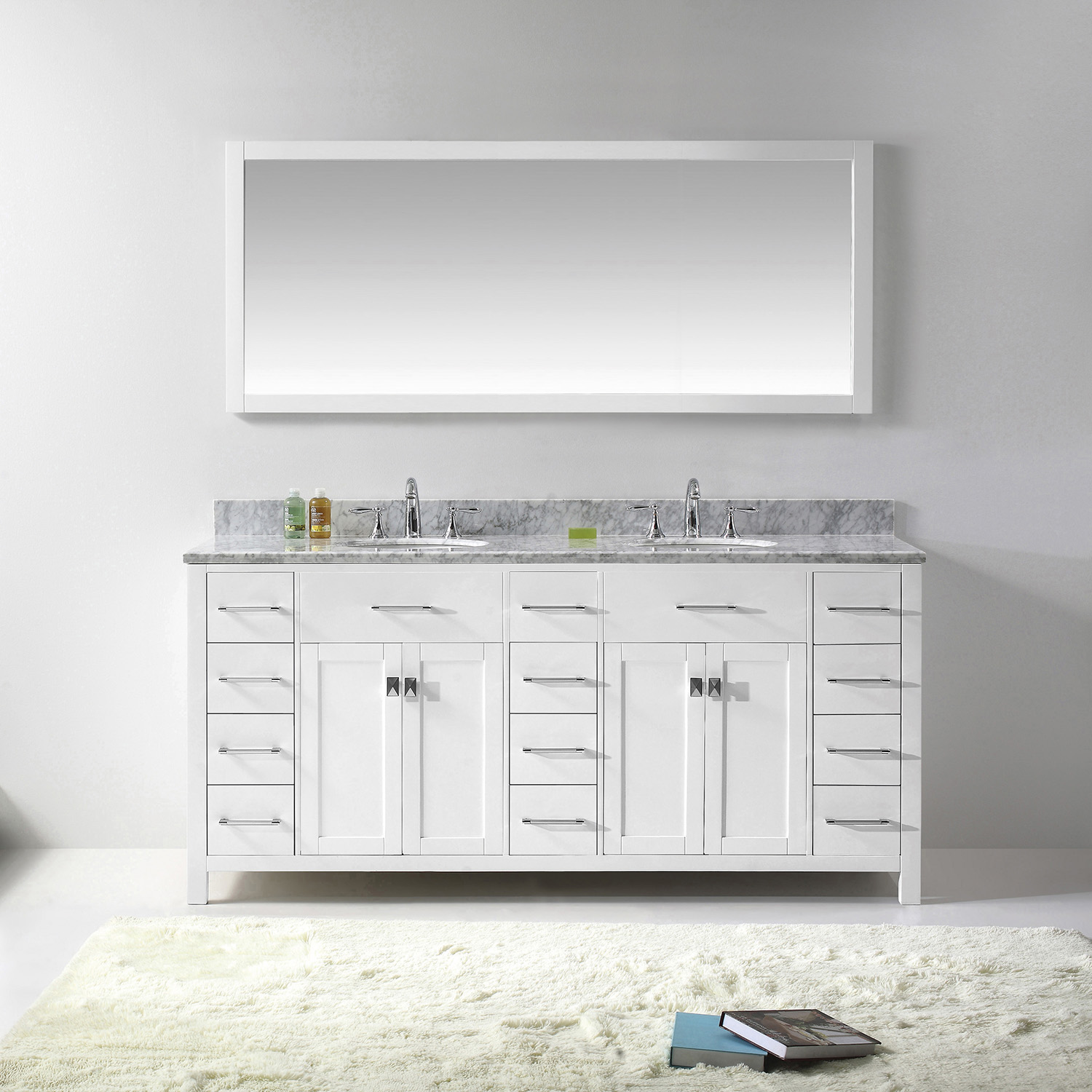"72"" Cabinet Only in White with Countertop, Mirror and Faucet Options"