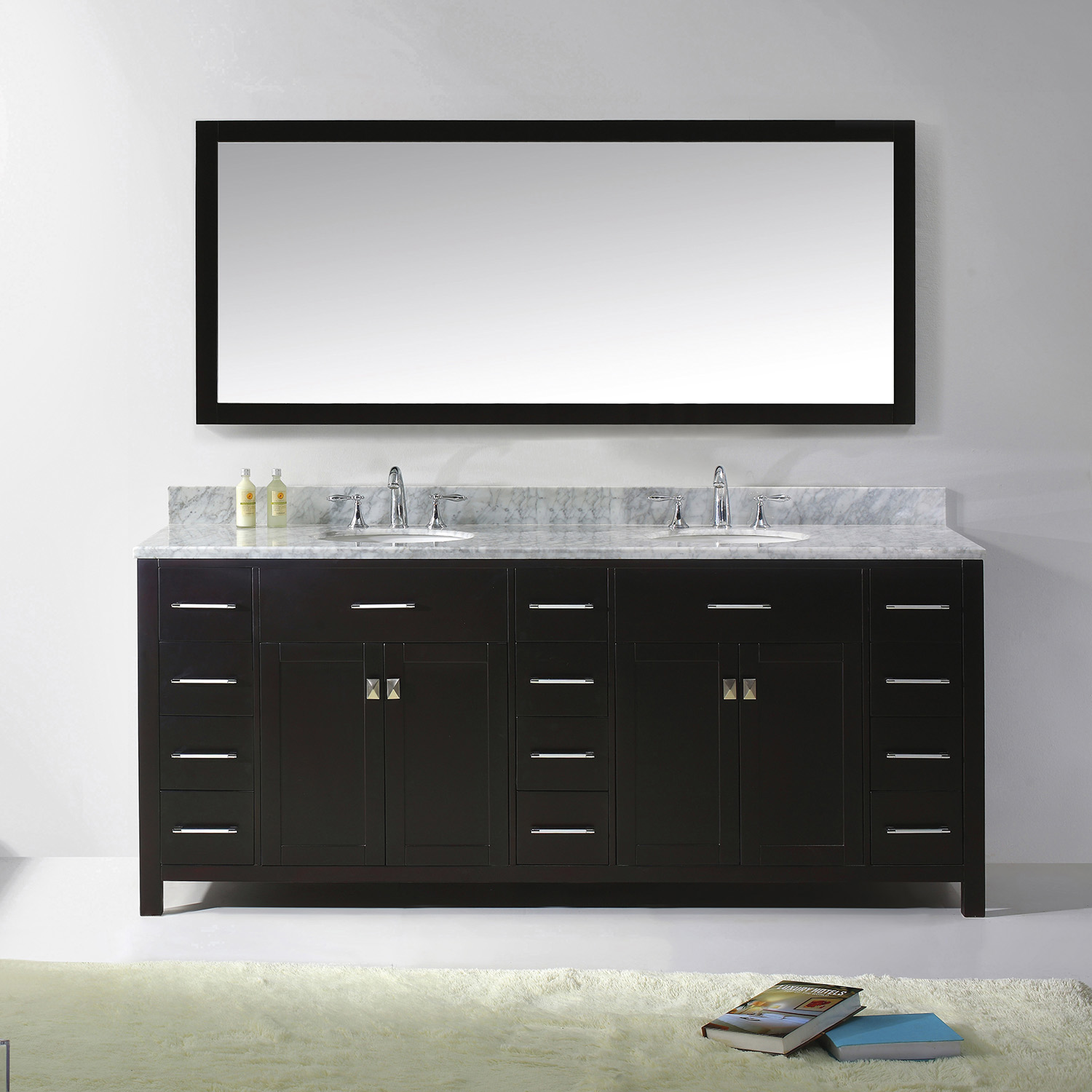 "78"" Cabinet Only in Espresso with Countertop, Mirror and Faucet Options"