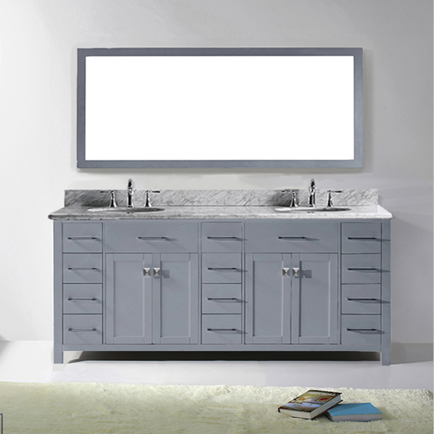 "78"" Cabinet Only in Grey with Countertop, Mirror and Faucet Options"