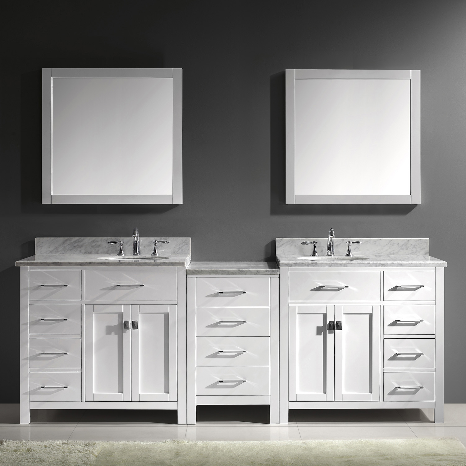 "93"" Double Bath Vanity in White with Marble Top and Round Sink"