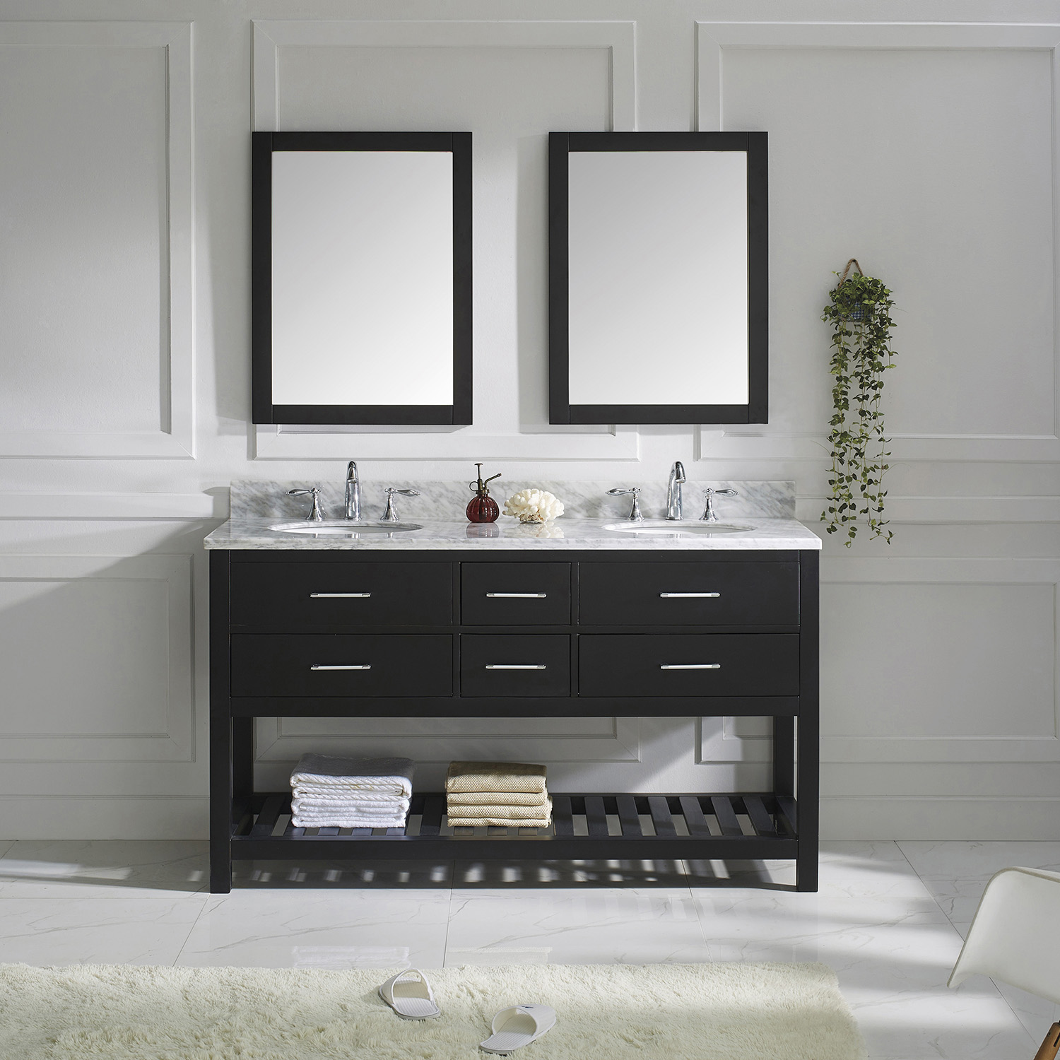 "60"" Cabinet Only in Espresso with Top, Mirror and Faucet Options"