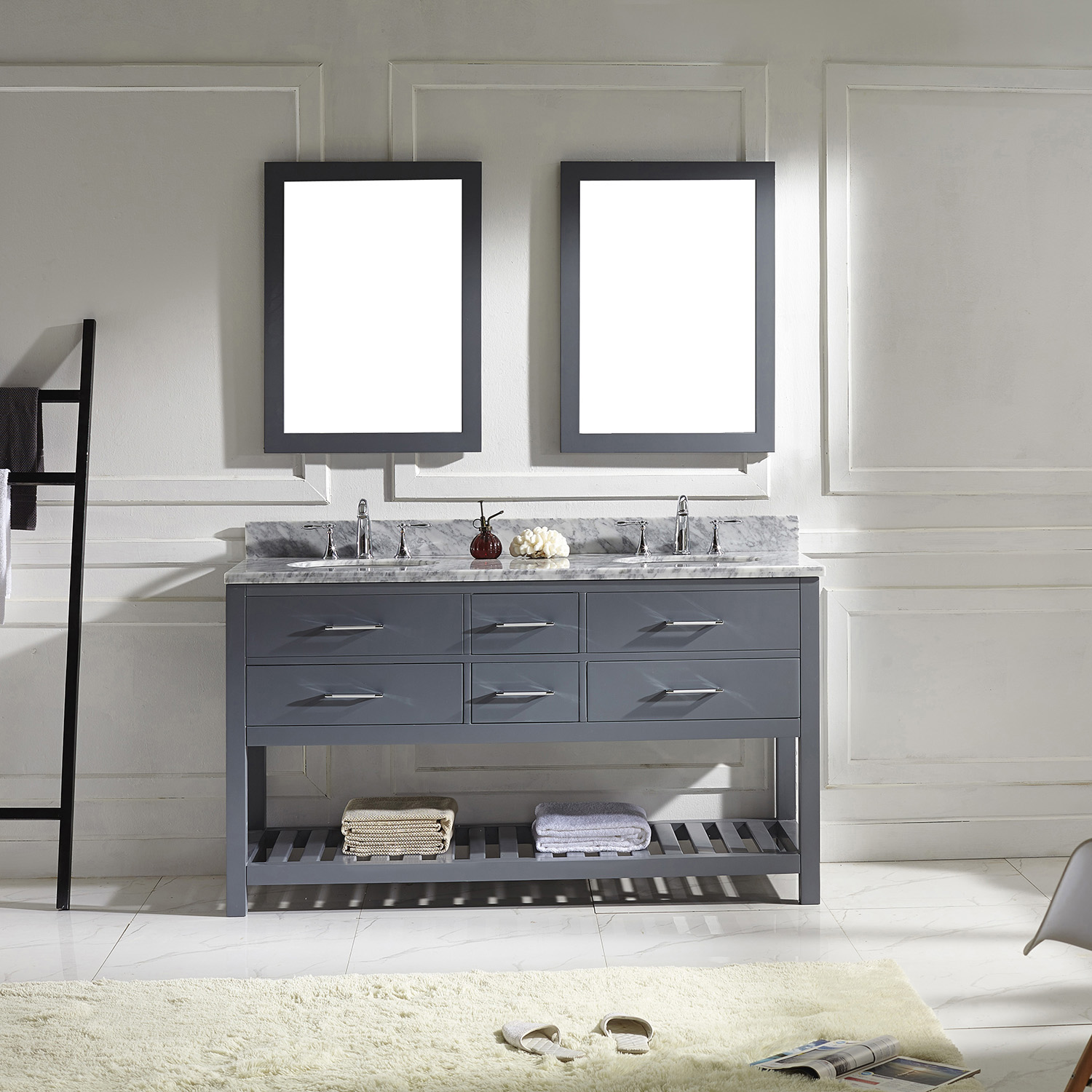 "60"" Cabinet Only in Grey with Top, Mirror and Faucet Options"