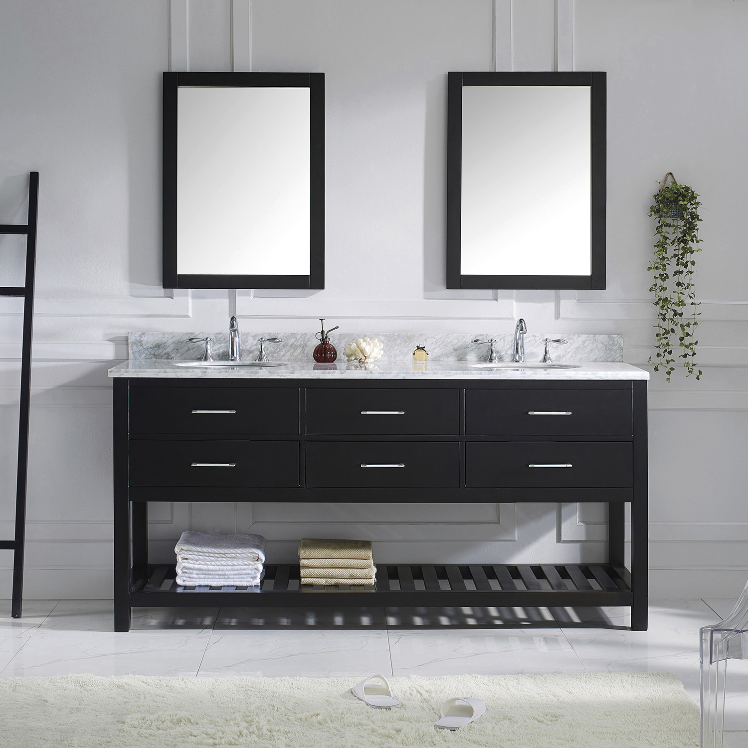 "72"" Cabinet Only in Espresso Finish with Top, Mirror and Faucet Option"