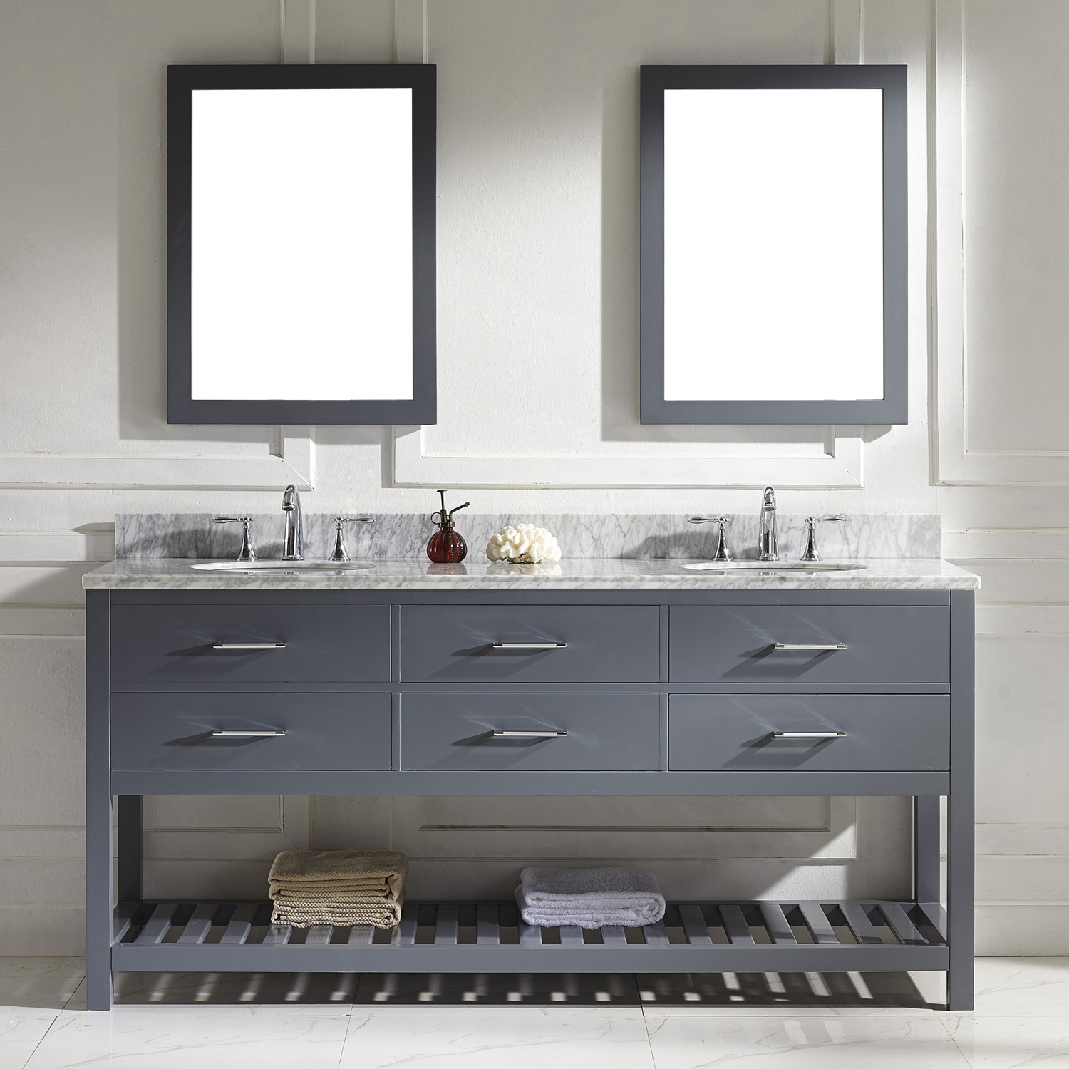 "72"" Cabinet Only in Grey Finish with Top, Mirror and Faucet Option"