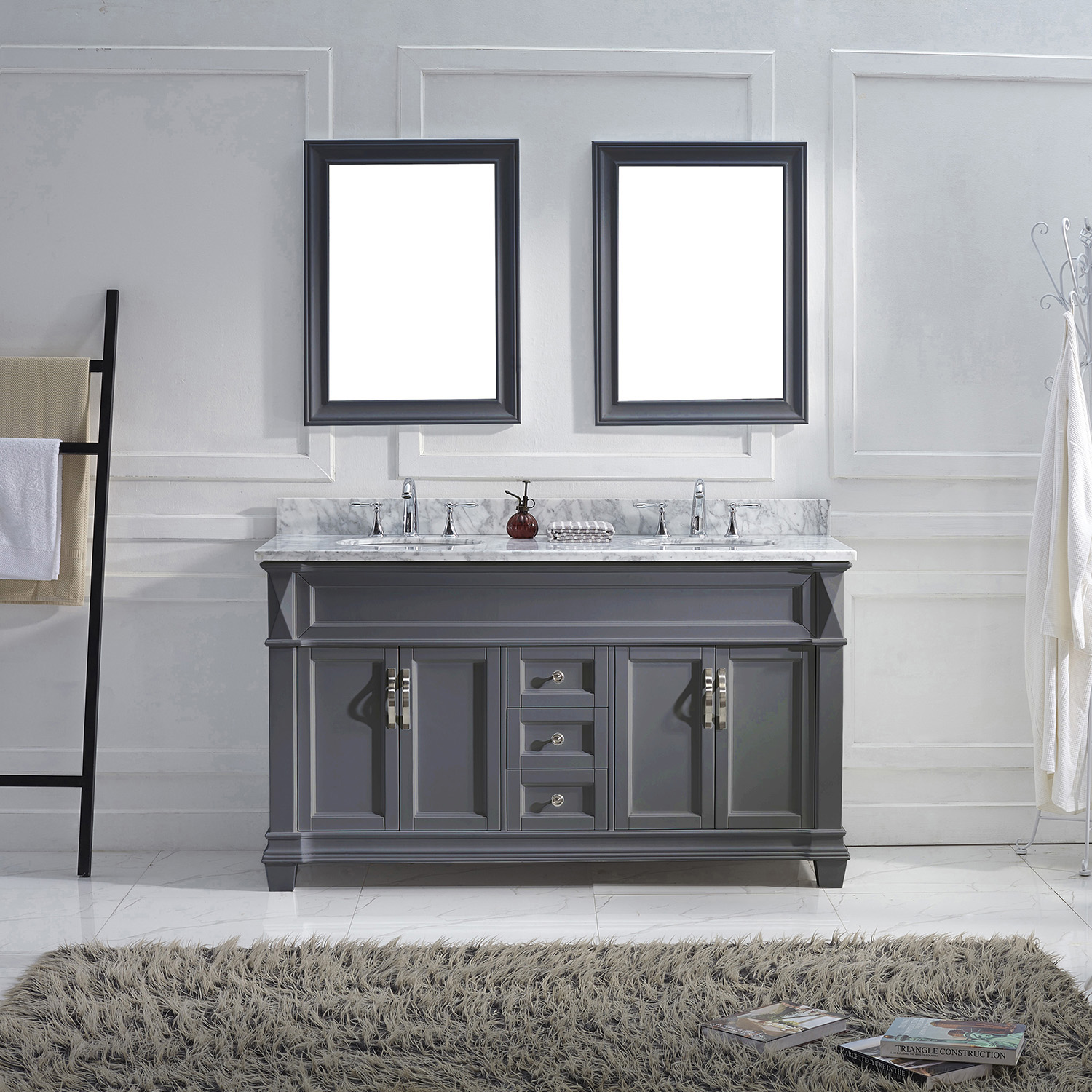 "60"" Cabinet Only in Grey Finish with Top, Mirror and Faucet Option"