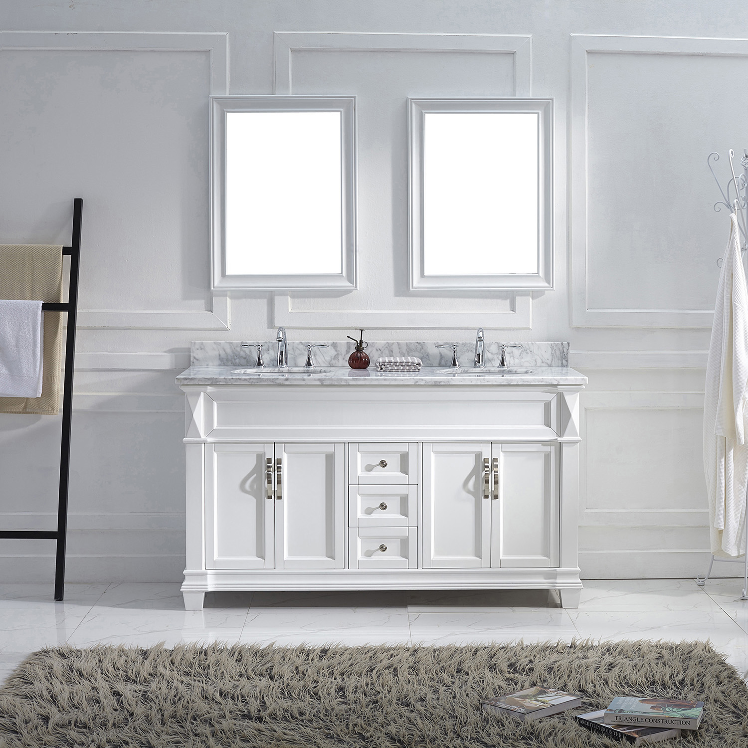 "60"" Cabinet Only in White Finish with Top, Mirror and Faucet Option"