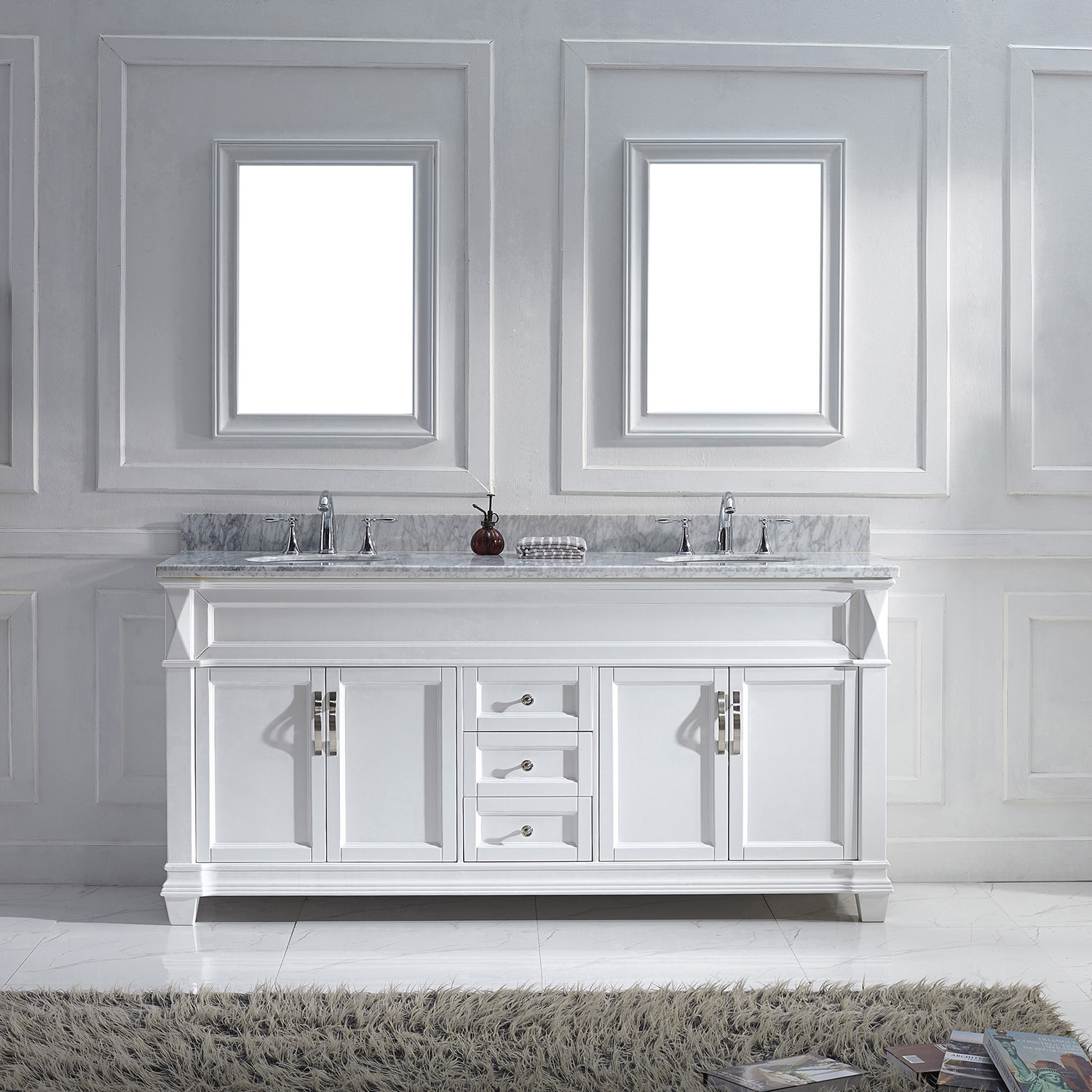"72"" Cabinet Only in White Finish with Top, Faucet and Mirror Option"