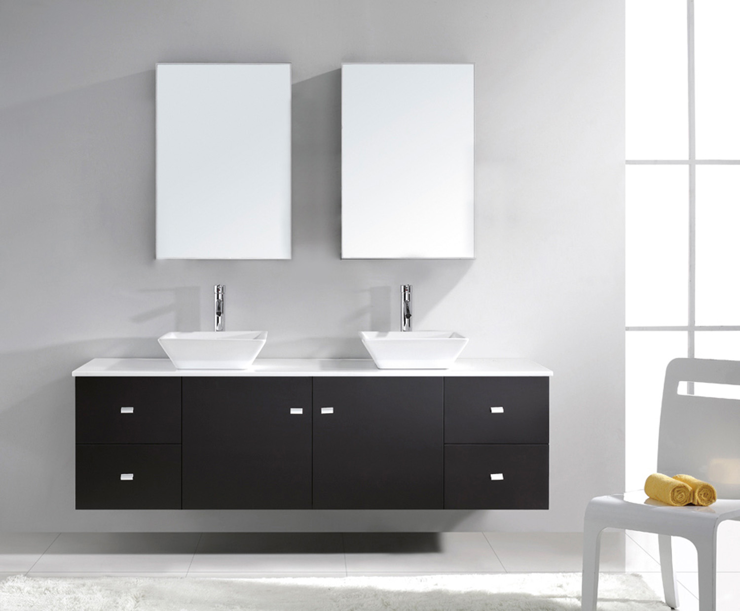 """72"""" Double Bath Vanity in Espresso with White Engineered Stone Top and Square Sink with Polished Chrome Faucet and Mirrors"""