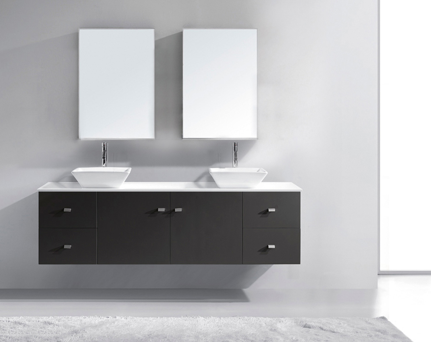 "72"" Double Bath Vanity in Grey with White Engineered Stone Top and Square Sink with Polished Chrome Faucet and Mirrors"