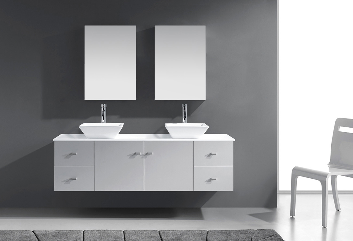 """72"""" Double Bath Vanity in White with White Engineered Stone Top and Square Sink with Polished Chrome Faucet and Mirrors"""