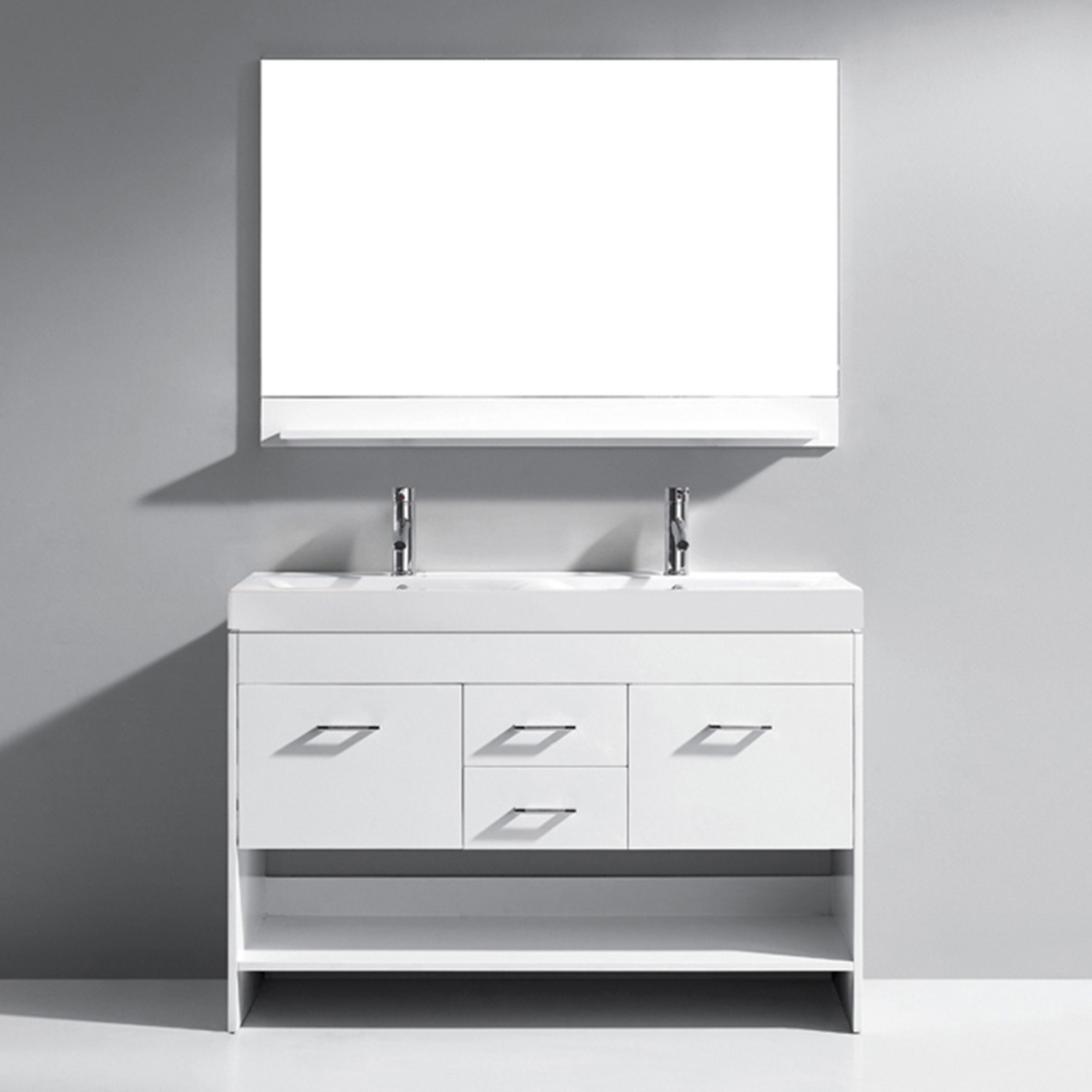 "48"" Double Bath Vanity in White with White Ceramic Top and Square Sink with Polished Chrome Faucet and Mirror"