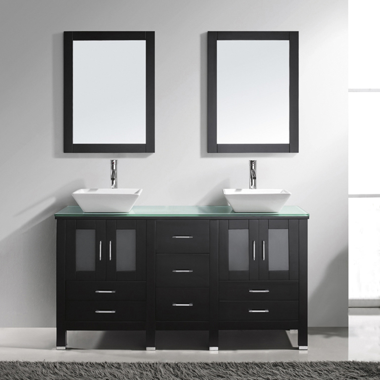 "60"" Double Bath Vanity in Espresso with Aqua Tempered Glass Top and Square Sink with Polished Chrome Faucet and Mirrors"