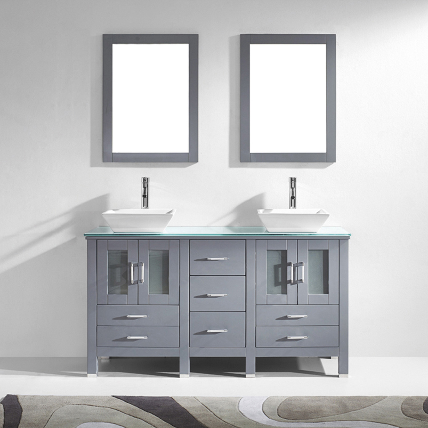 "60"" Double Bath Vanity in Grey with Aqua Tempered Glass Top and Square Sink with Polished Chrome Faucet and Mirrors"