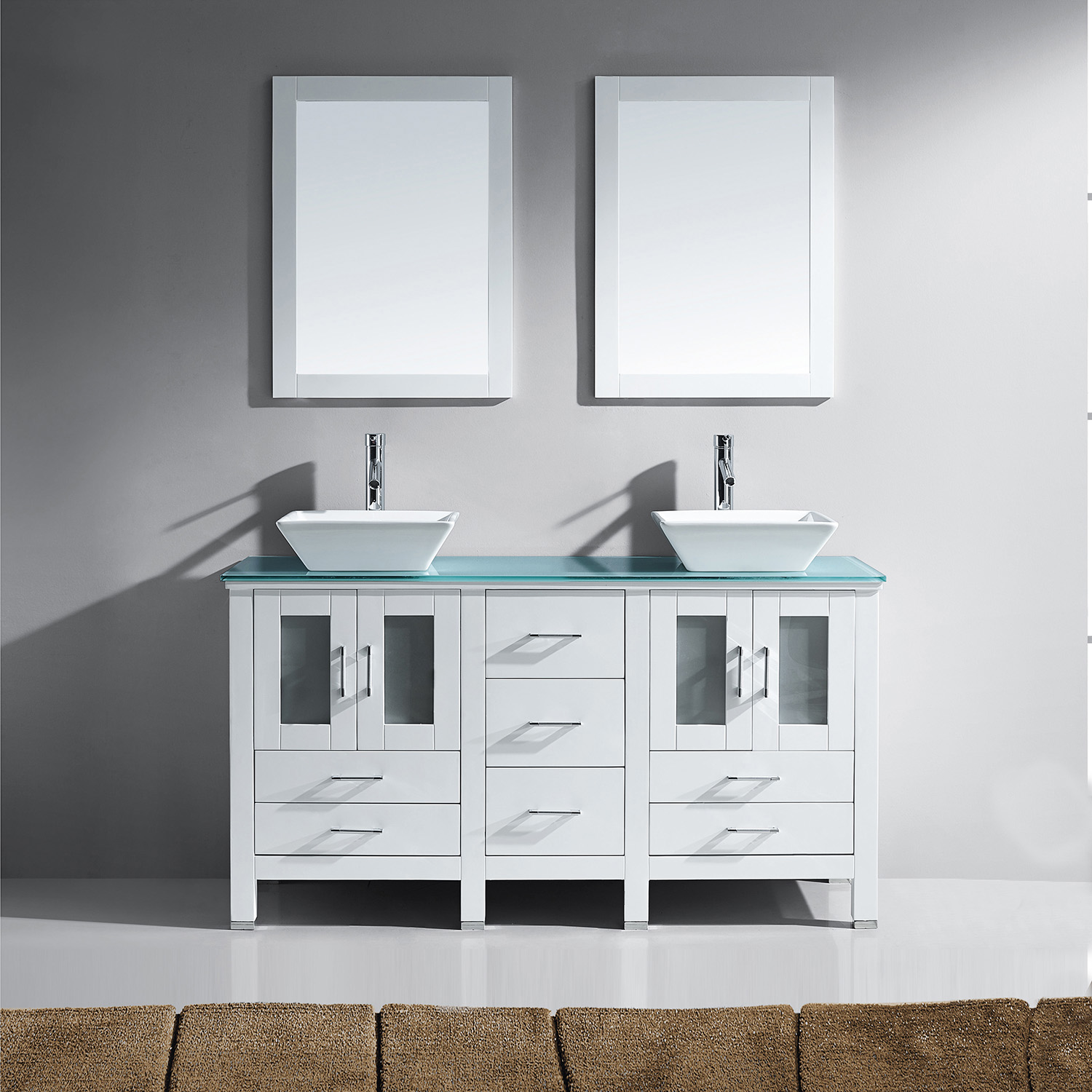 "60"" Double Bath Vanity in White with Aqua Tempered Glass Top and Square Sink with Polished Chrome Faucet and Mirrors"