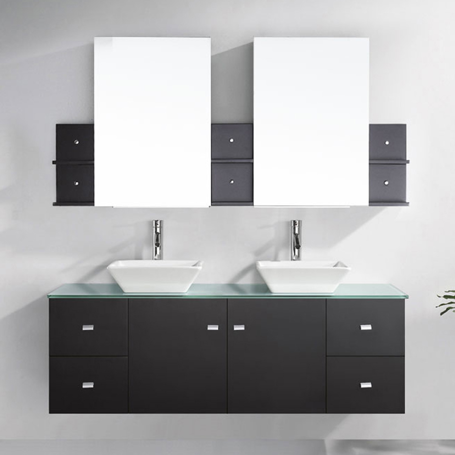 "61"" Double Bath Vanity in Espresso with Aqua Tempered Glass Top and Square Sink with Polished Chrome Faucet and Mirrors"