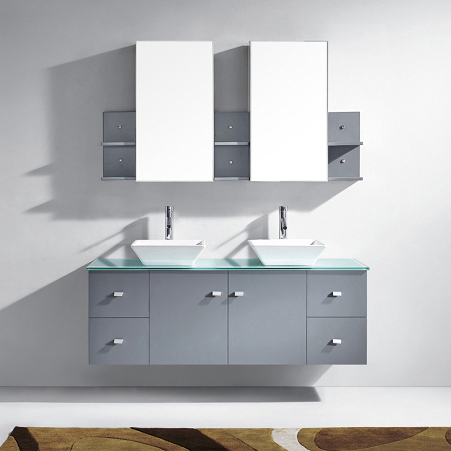 "61"" Double Bath Vanity in Grey with Aqua Tempered Glass Top and Square Sink with Polished Chrome Faucet and Mirrors"