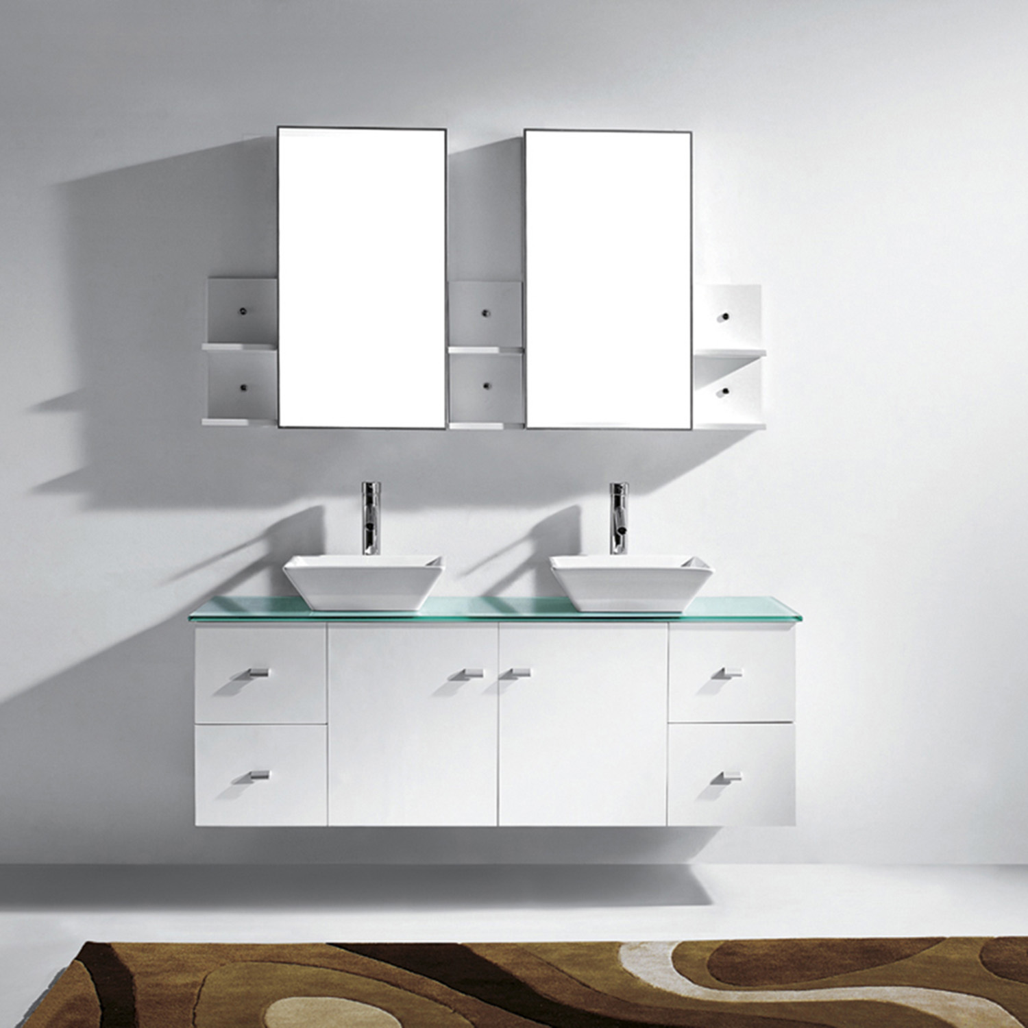 "61"" Double Bath Vanity in White with Aqua Tempered Glass Top and Square Sink with Polished Chrome Faucet and Mirrors"
