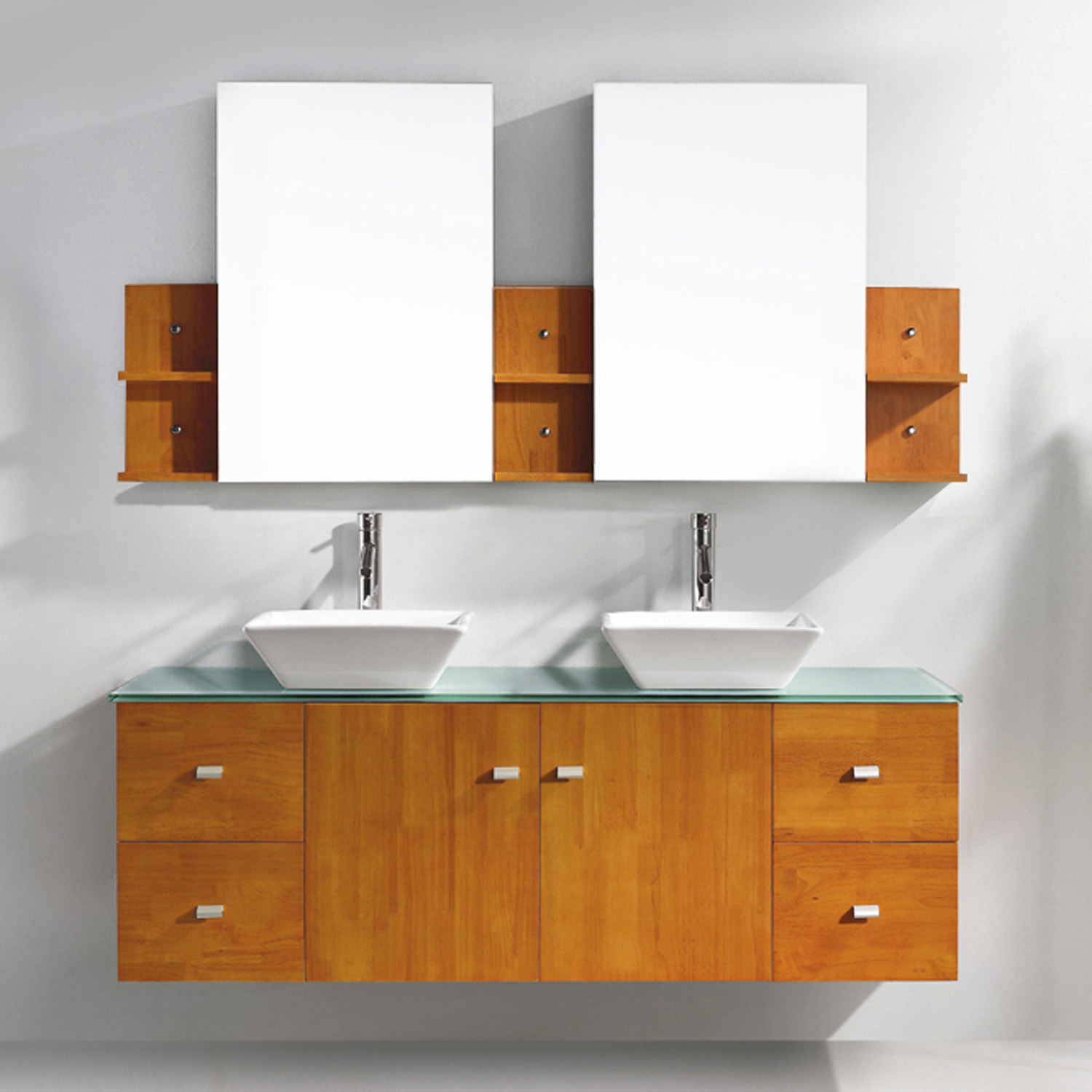 "61"" Double Bath Vanity in Honey Oak with Aqua Tempered Glass Top and Square Sink with Polished Chrome Faucet and Mirrors"