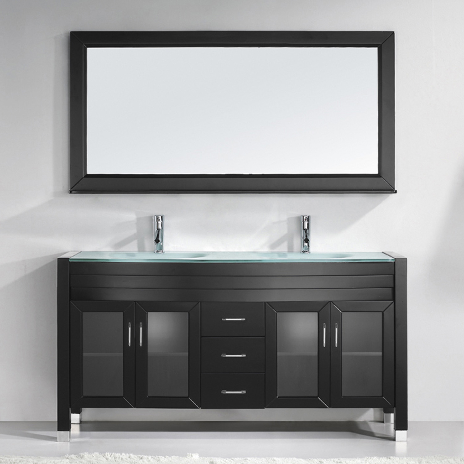 "63"" Double Bath Vanity in Espresso with Aqua Tempered Glass Top and Round Sink with Polished Chrome Faucet and Mirror"
