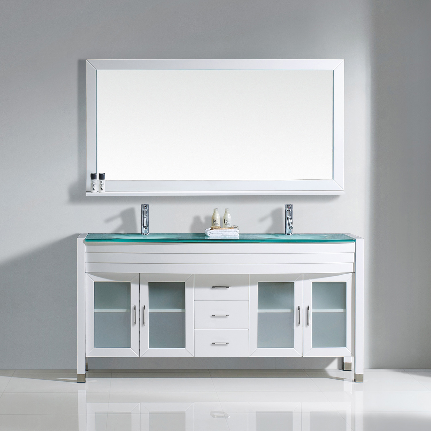 "63"" Double Bath Vanity in White with Aqua Tempered Glass Top and Round Sink with Polished Chrome Faucet and Mirror"