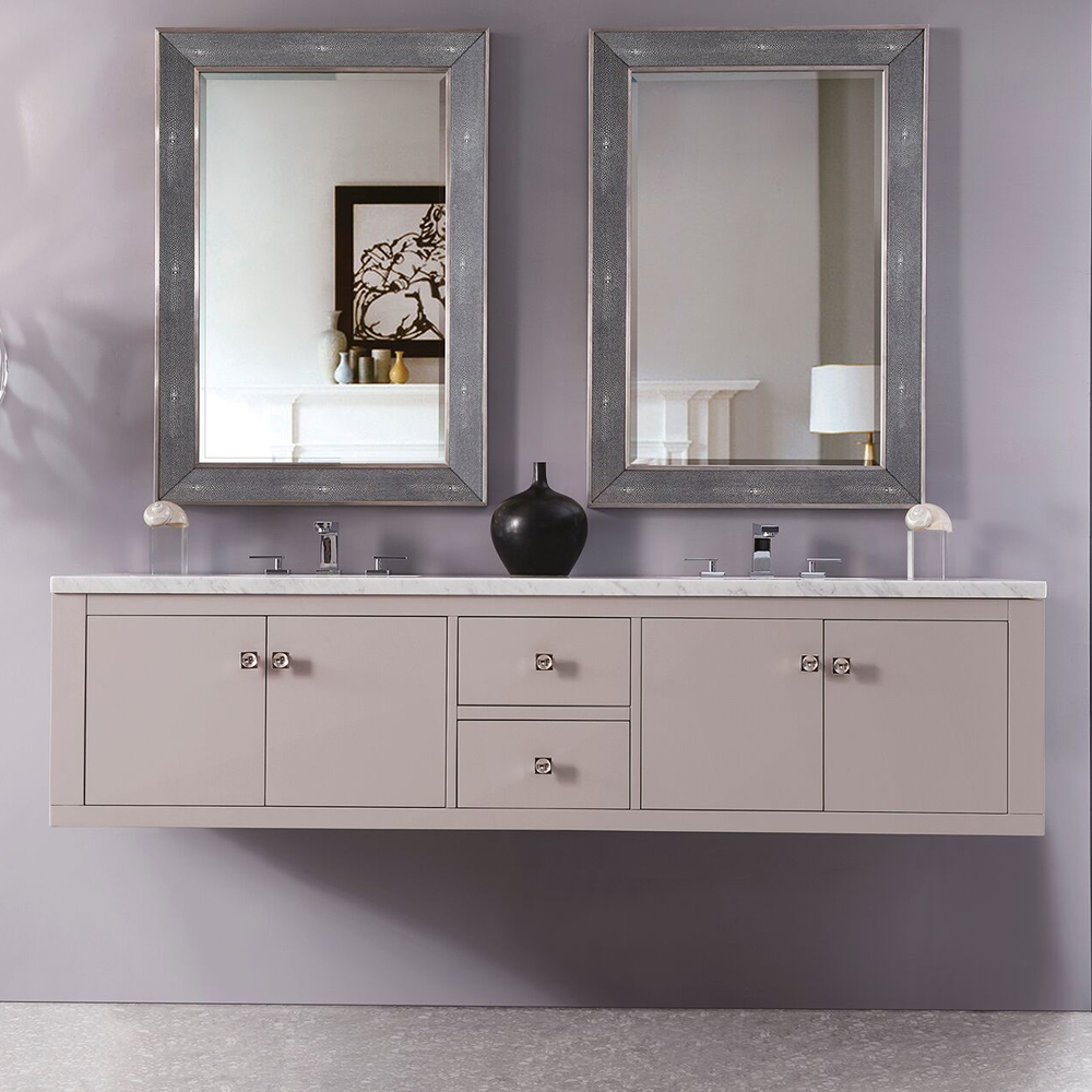 "Silverlake 72"" Wall Mounted Double Vanity, Mountain Mist Finish with Top Options"