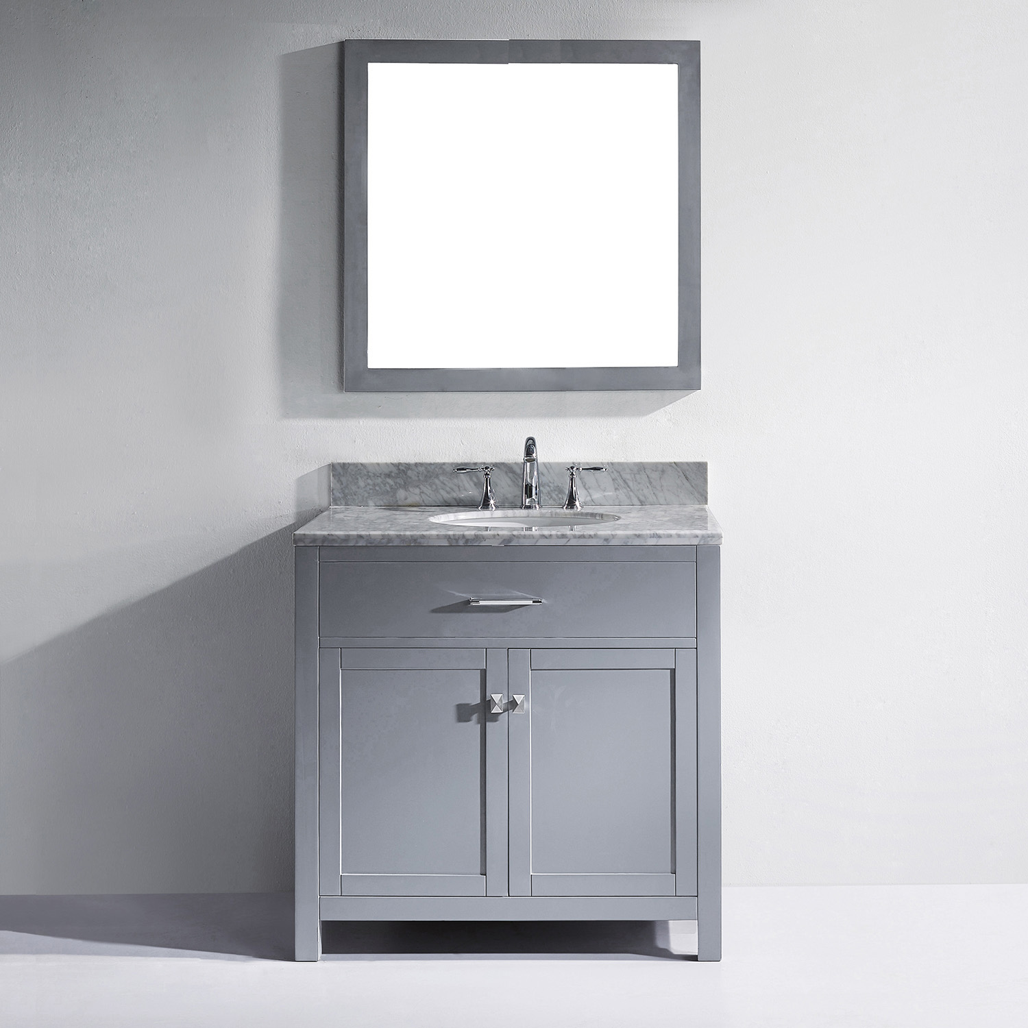"36"" Cabinet Only in Grey with Top, Mirror and Faucet Options"