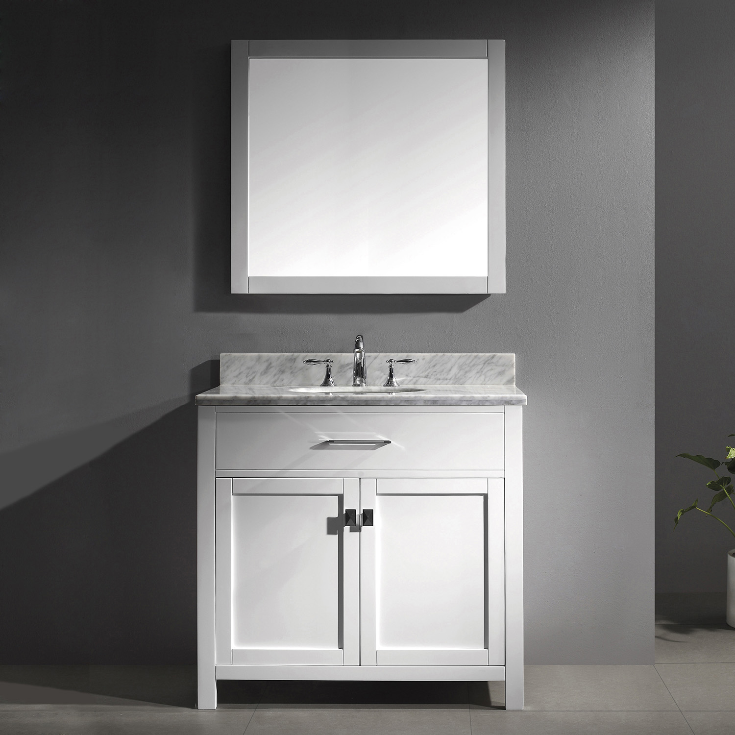 "36"" Cabinet Only in White with Countertop, Mirror and Faucet Options"