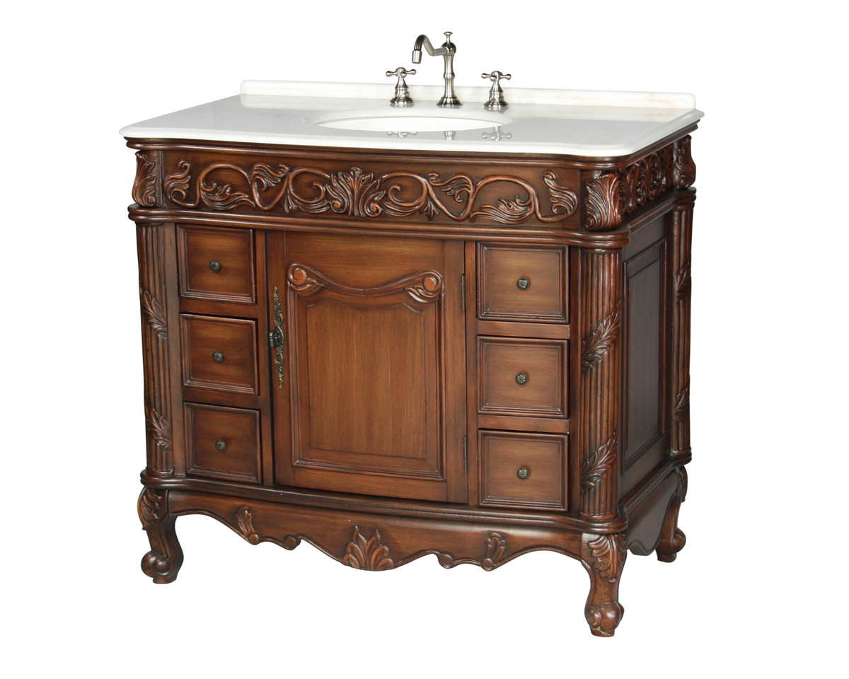 "40"" Antique Style Single Sink Bathroom Vanity with Marble Top"
