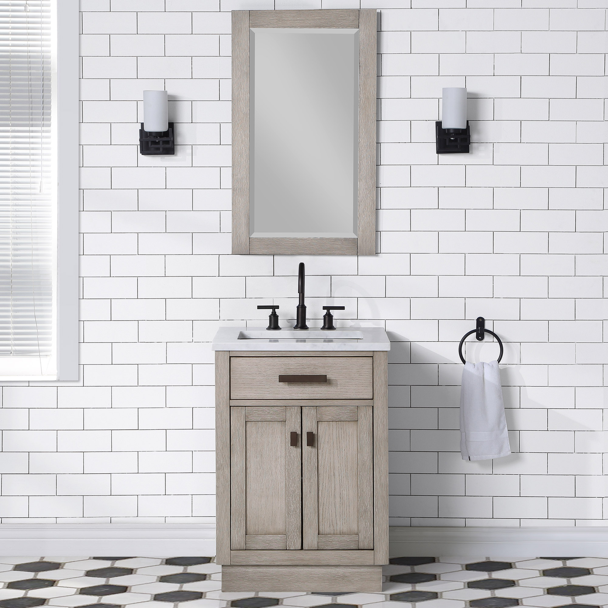 "24"" Gray Oak Single Bathroom Vanity with Seamless Italian Carrara White Marble Top"