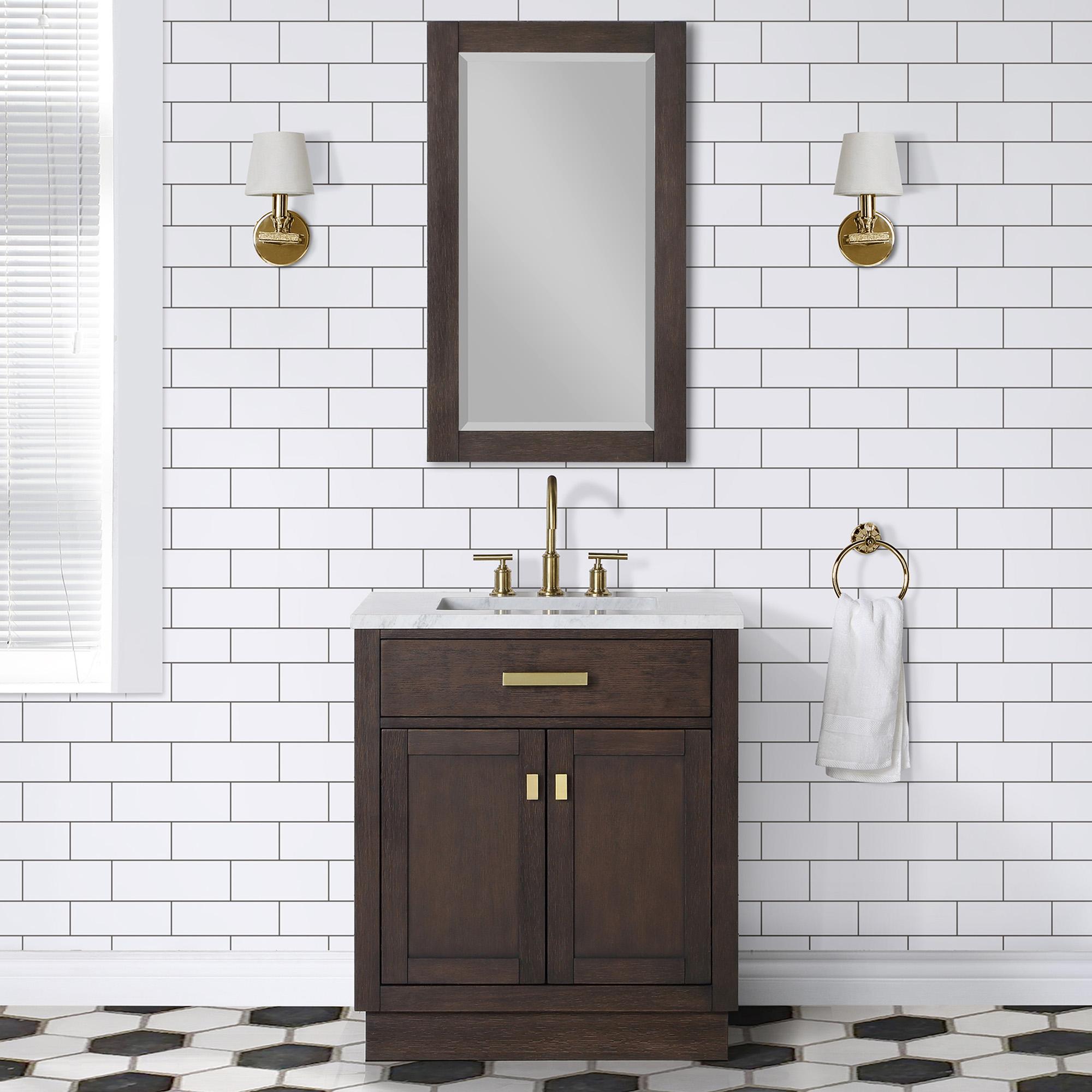 "30"" Brown Oak Single Bathroom Vanity with Seamless Italian Carrara White Marble Top"