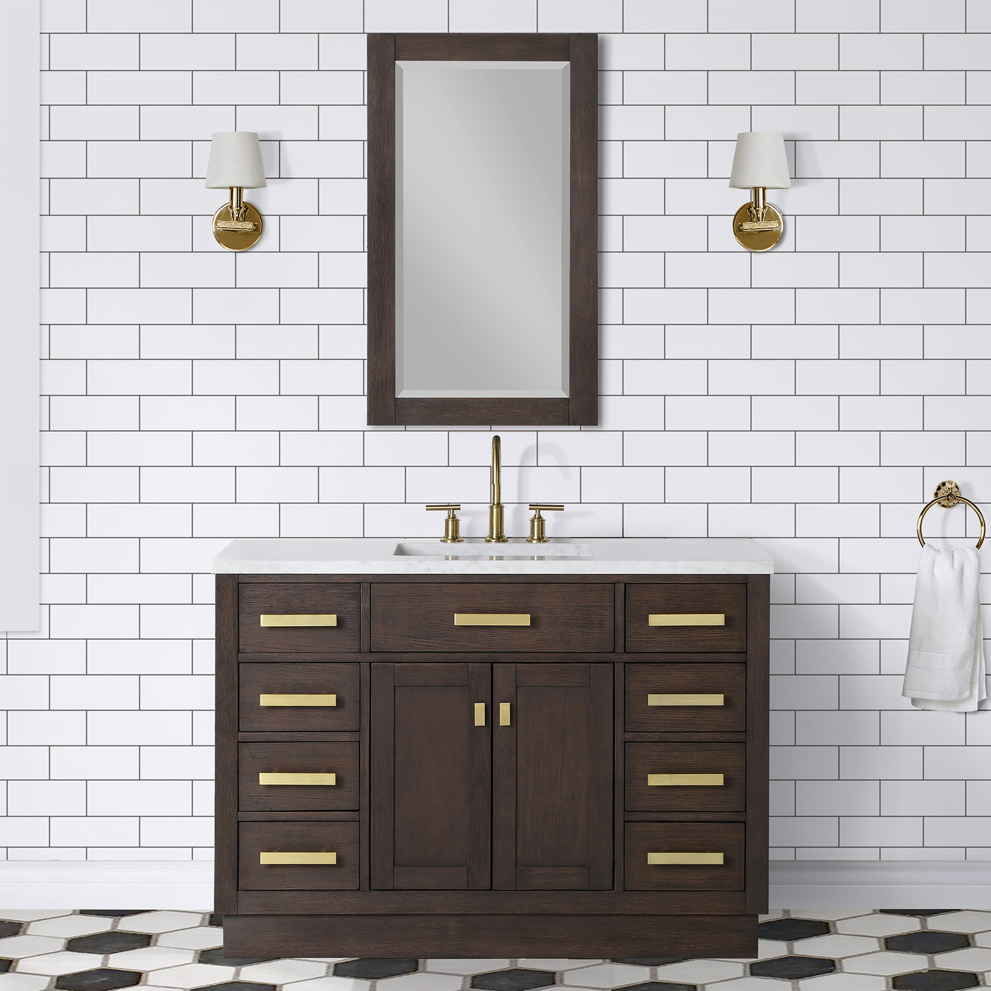 "48"" Brown Oak Single Bathroom Vanity with Seamless Italian Carrara White Marble Top"