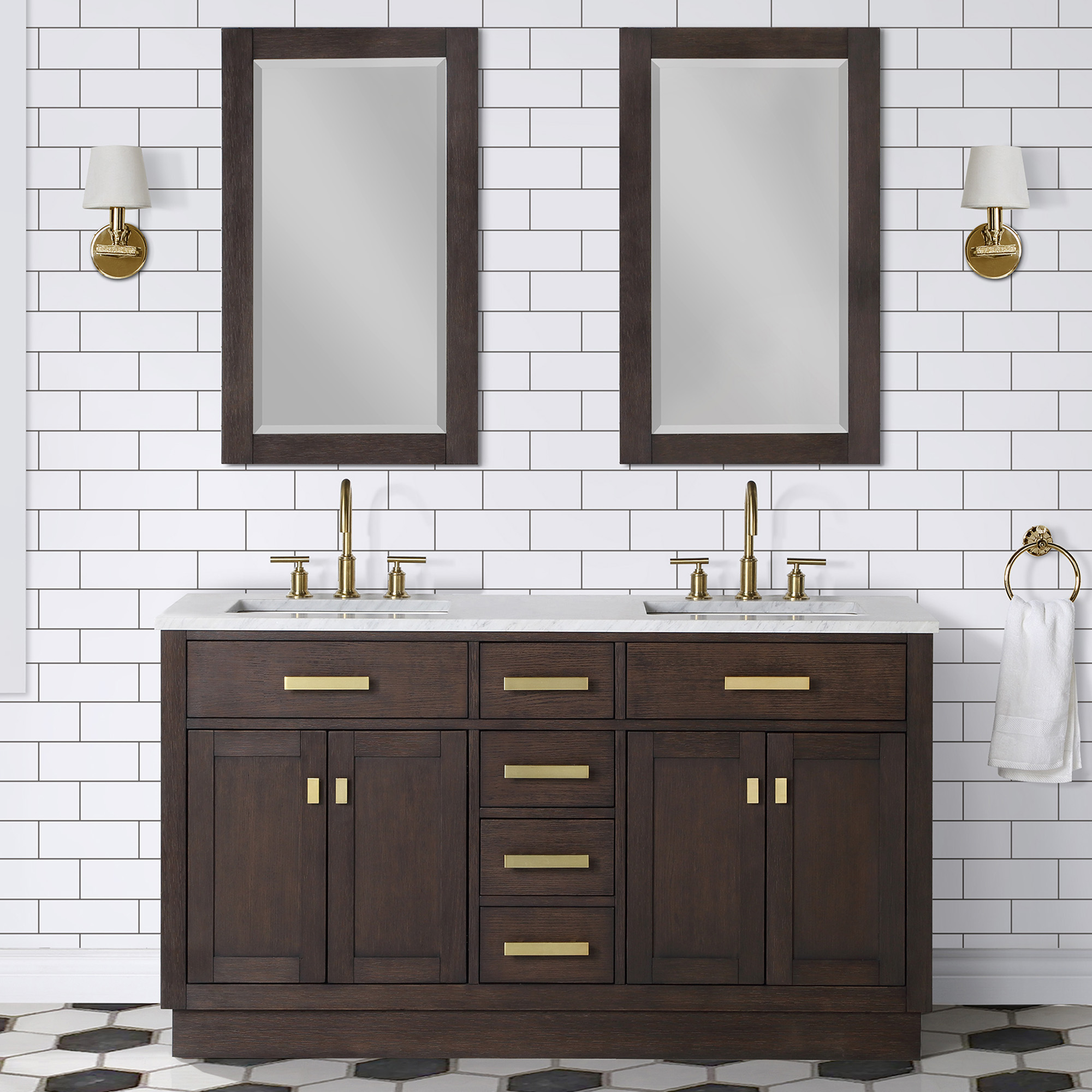 "60"" Brown Oak Double Bathroom Vanity with Seamless Italian Carrara White Marble Top"